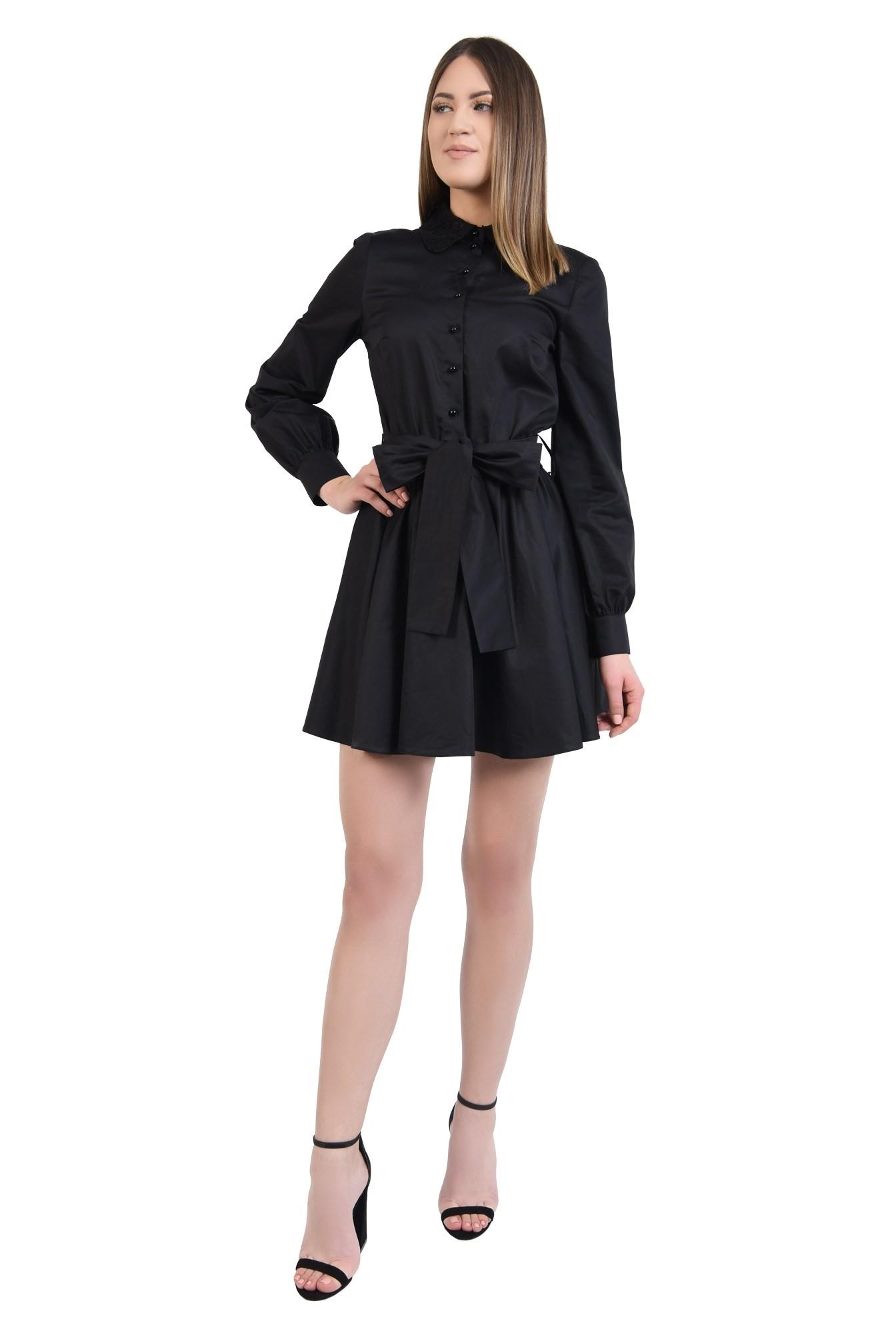 3 - 360 - rochie scurta, de zi, cu funda, guler din dantela