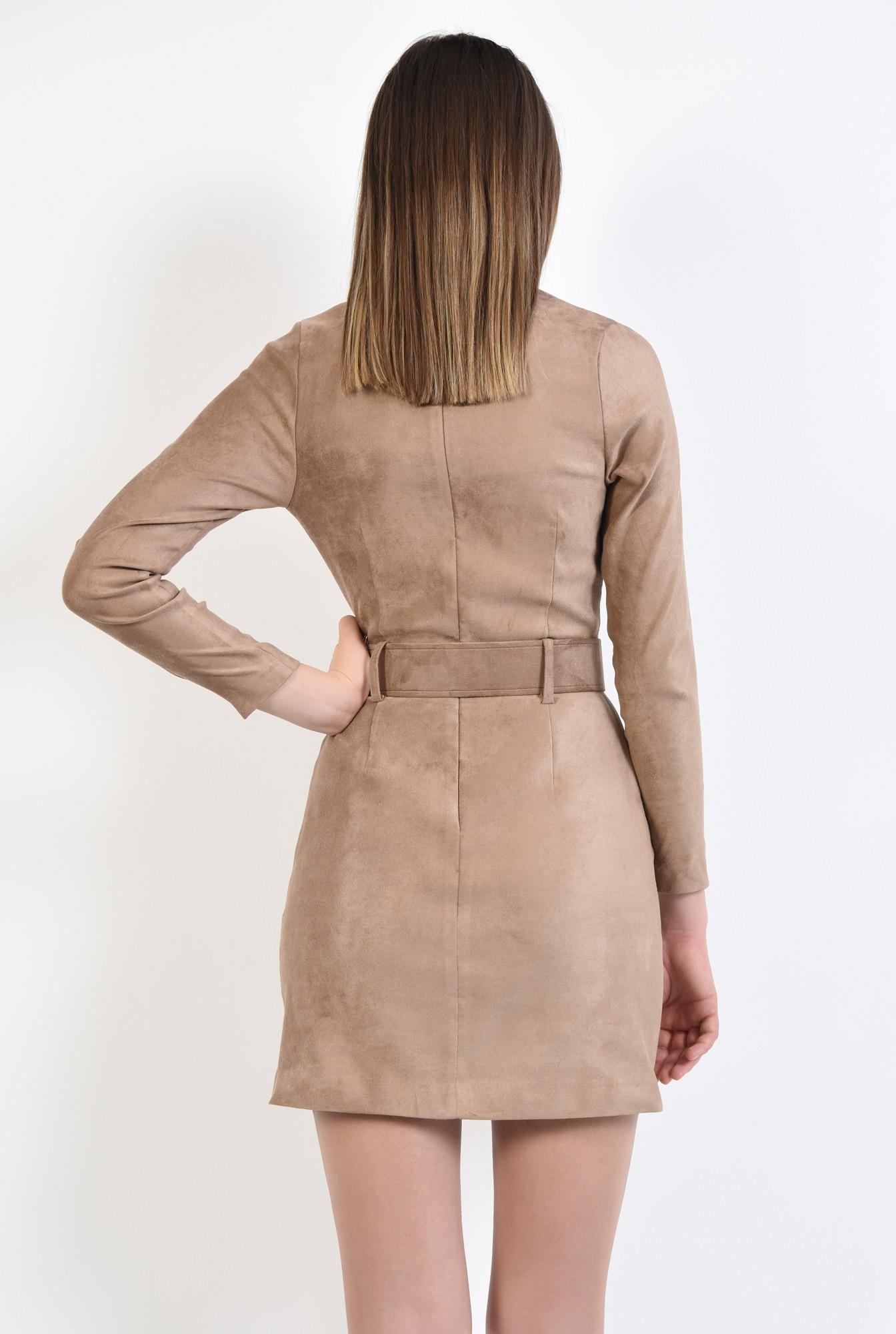 1 - rochie scurta, bej, din piele intoarsa, cu maneci mulate, cu centura