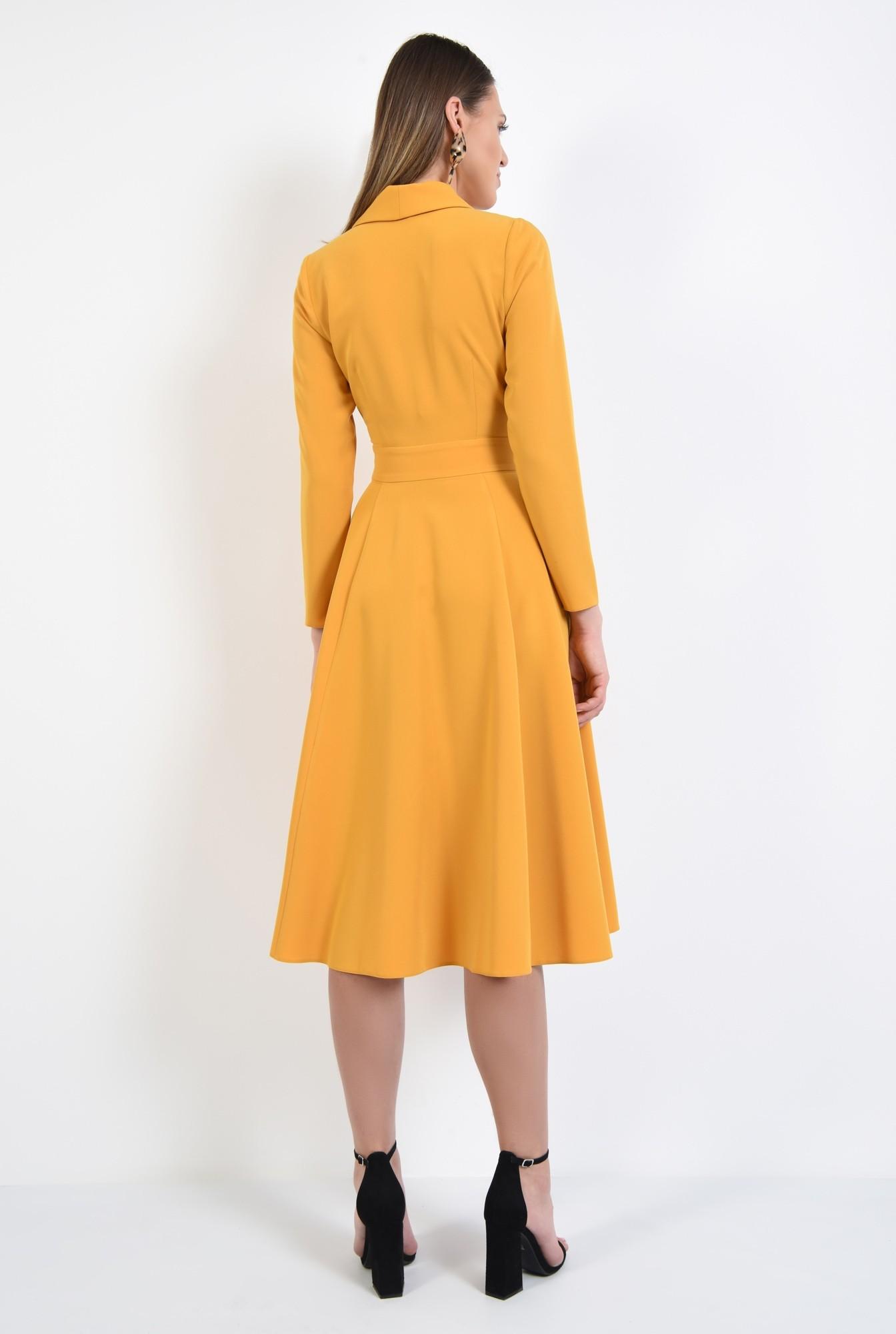 1 - rochie eleganta, de zi, mustar, maneci ajustate, anchior petrecut