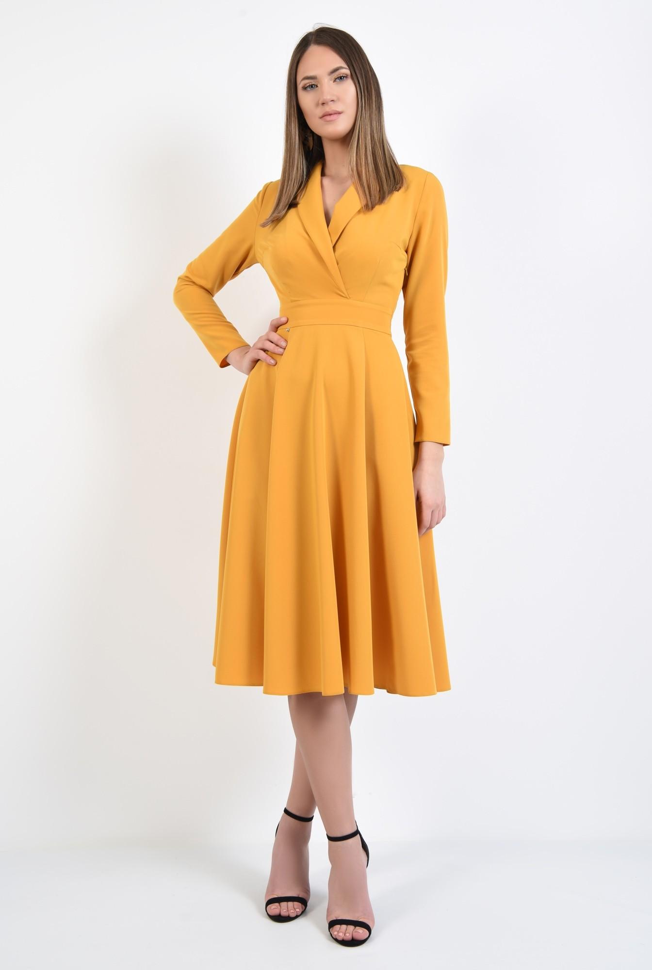 3 - rochie eleganta, de zi, mustar, maneci ajustate, anchior petrecut