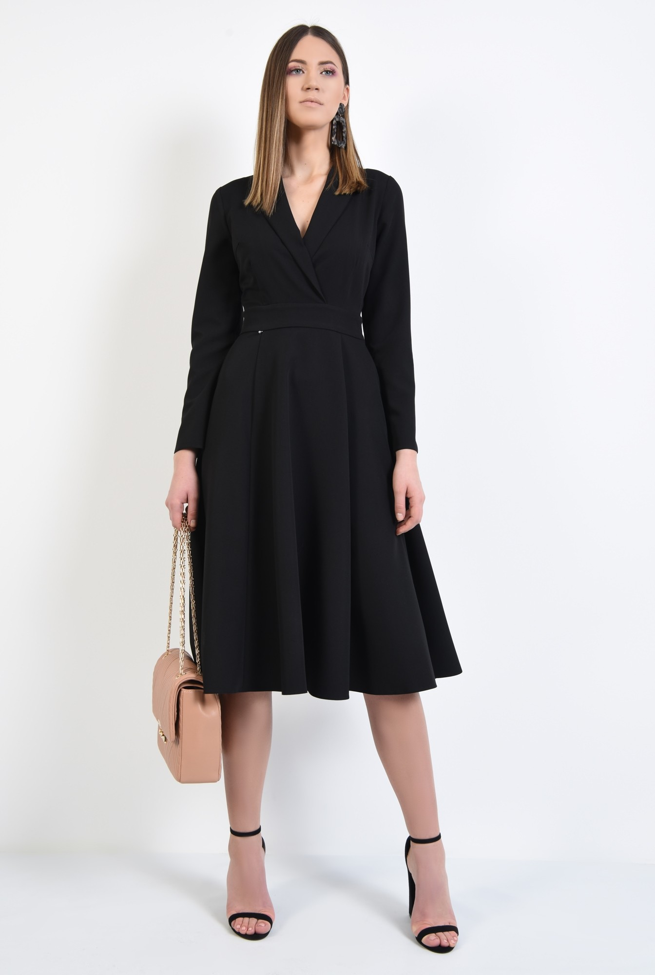 3 - rochie neagra, evazata, midi, talie cu betelie, maneci ajustate