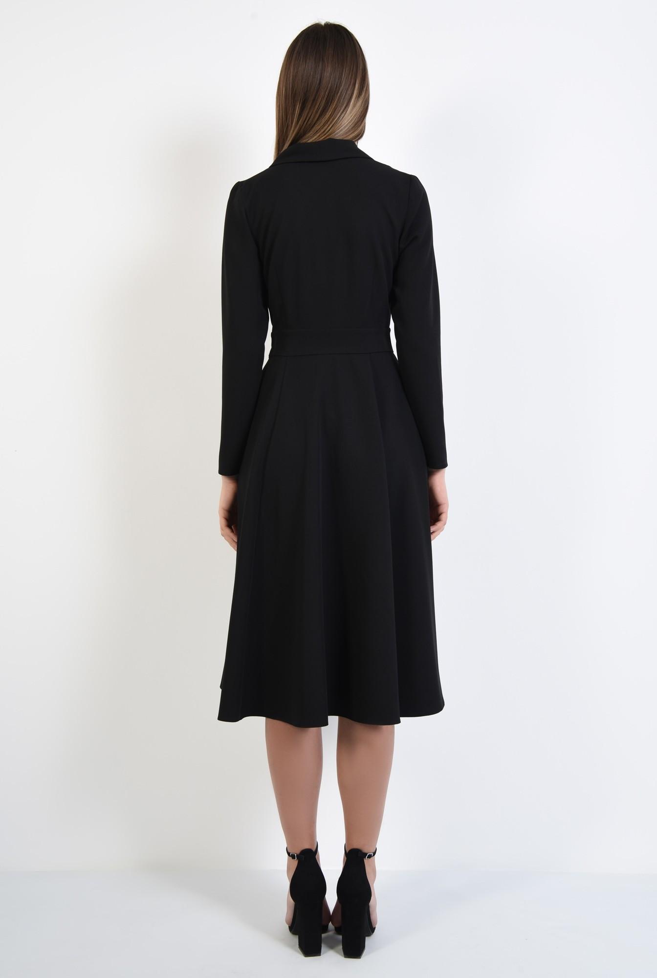 1 - rochie neagra, evazata, midi, talie cu betelie, maneci ajustate