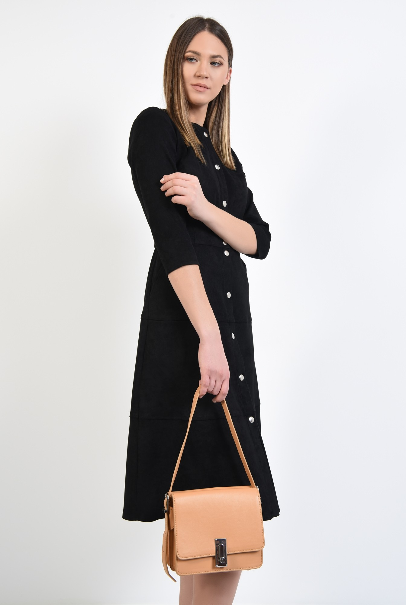 2 - rochie neagra, midi, evazata, din piele intoarsa ecologica