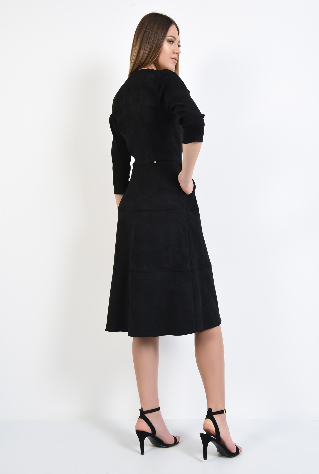 1 - rochie neagra, midi, evazata, din piele intoarsa ecologica