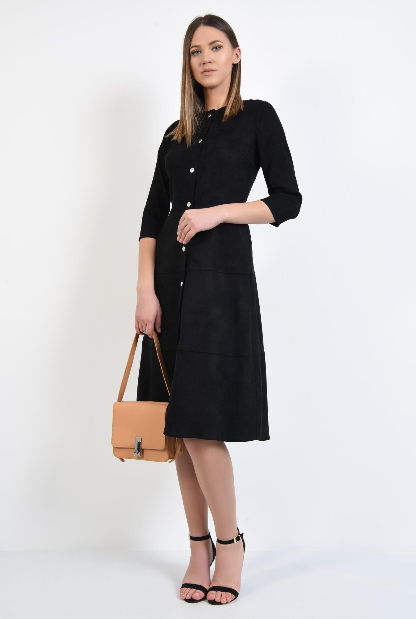 3 - rochie neagra, midi, evazata, din piele intoarsa ecologica