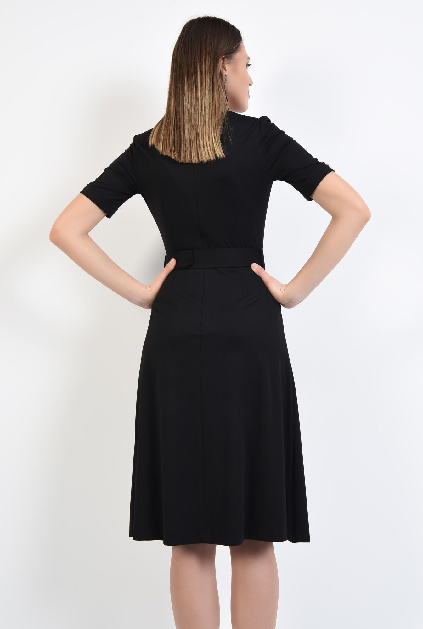 1 - 360 - rochie midi, neagra, evazata, maneci scurte cu mansete