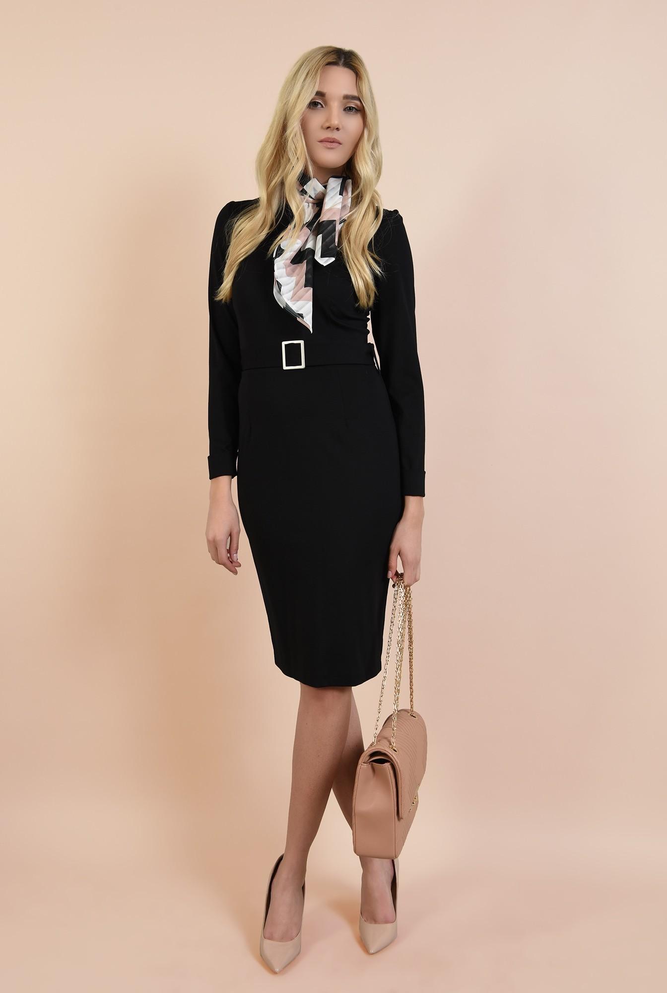 3 - 360 - rochie neagra, casual, bodycon, cu centura, catarama argintie