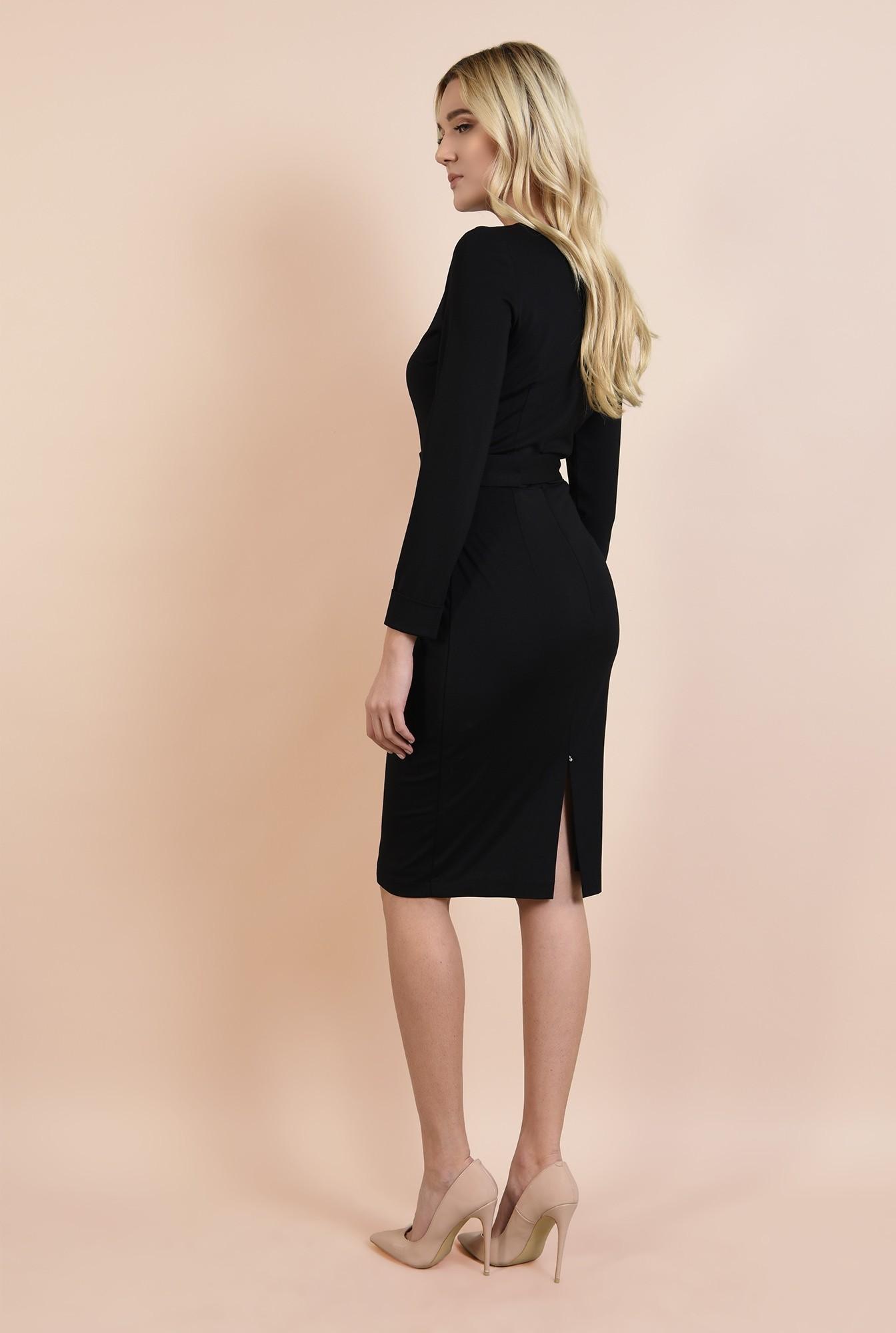 1 - 360 - rochie neagra, casual, bodycon, cu centura, catarama argintie