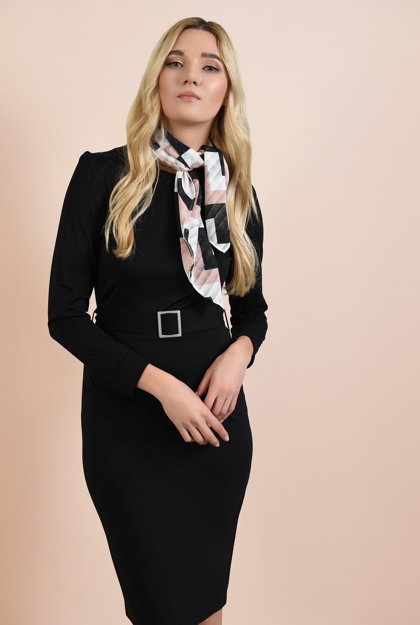 0 - 360 - rochie neagra, casual, bodycon, cu centura, catarama argintie