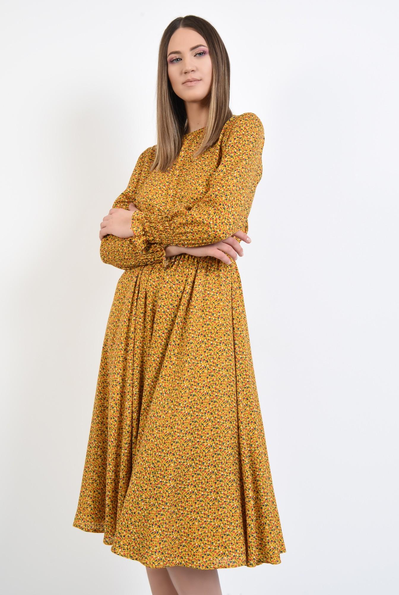 2 - rochie midi, din viscoza, cu imprimeu, maneci lungi cu mansete, croi clos