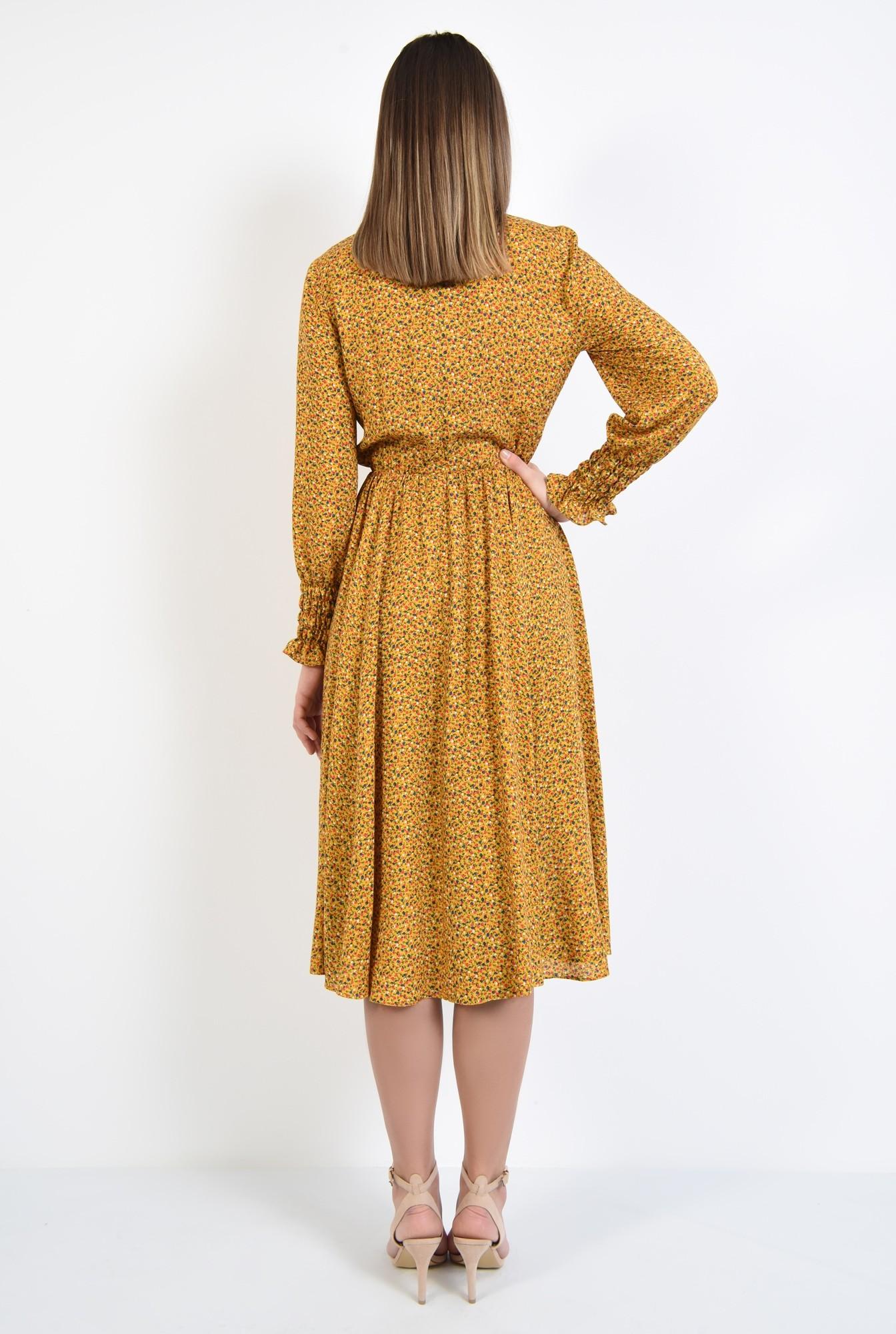 1 - rochie midi, din viscoza, cu imprimeu, maneci lungi cu mansete, croi clos