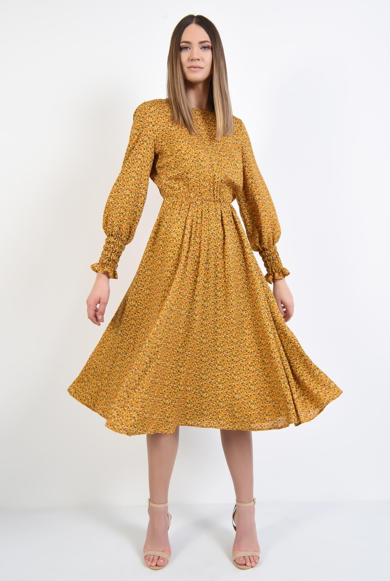 3 - rochie midi, din viscoza, cu imprimeu, maneci lungi cu mansete, croi clos