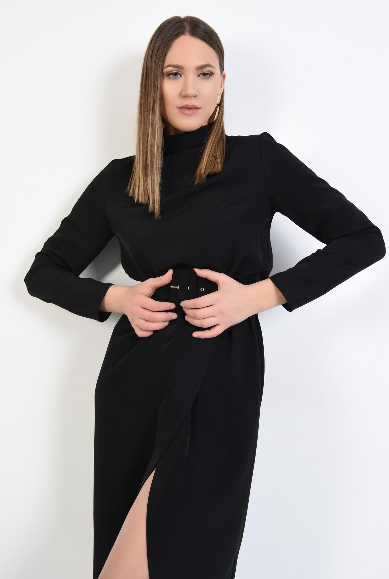 3 - rochie neagra, de zi, croi cambrat cu elastic, maneci lungi