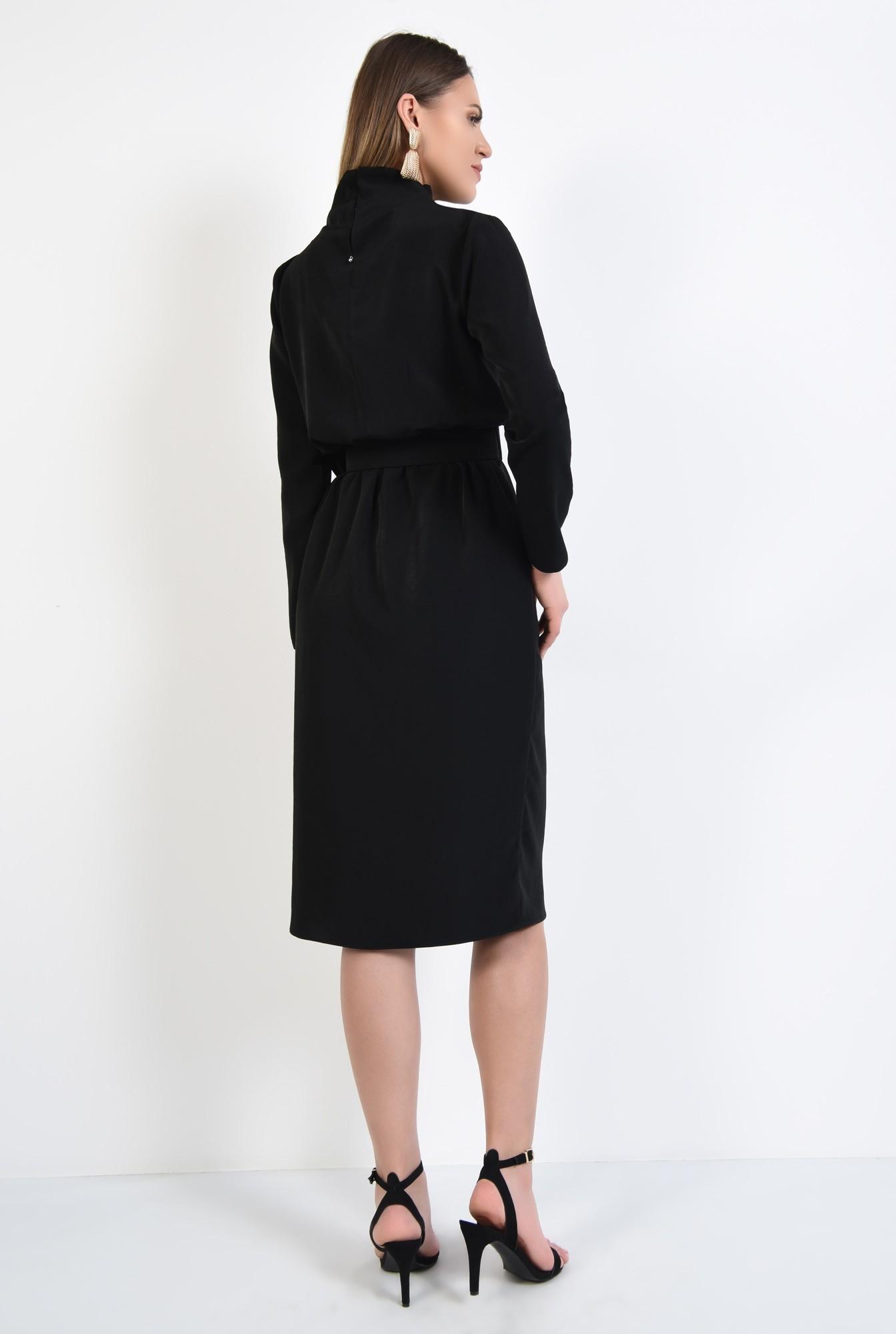 1 - rochie neagra, de zi, croi cambrat cu elastic, maneci lungi