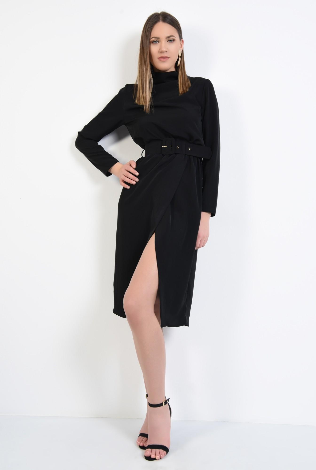 2 - rochie neagra, de zi, croi cambrat cu elastic, maneci lungi