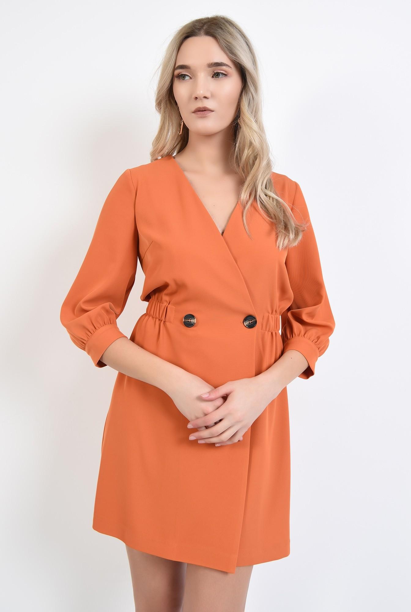 2 - rochie orange, mini, anchior petrecut, inchidere la doi nasturi