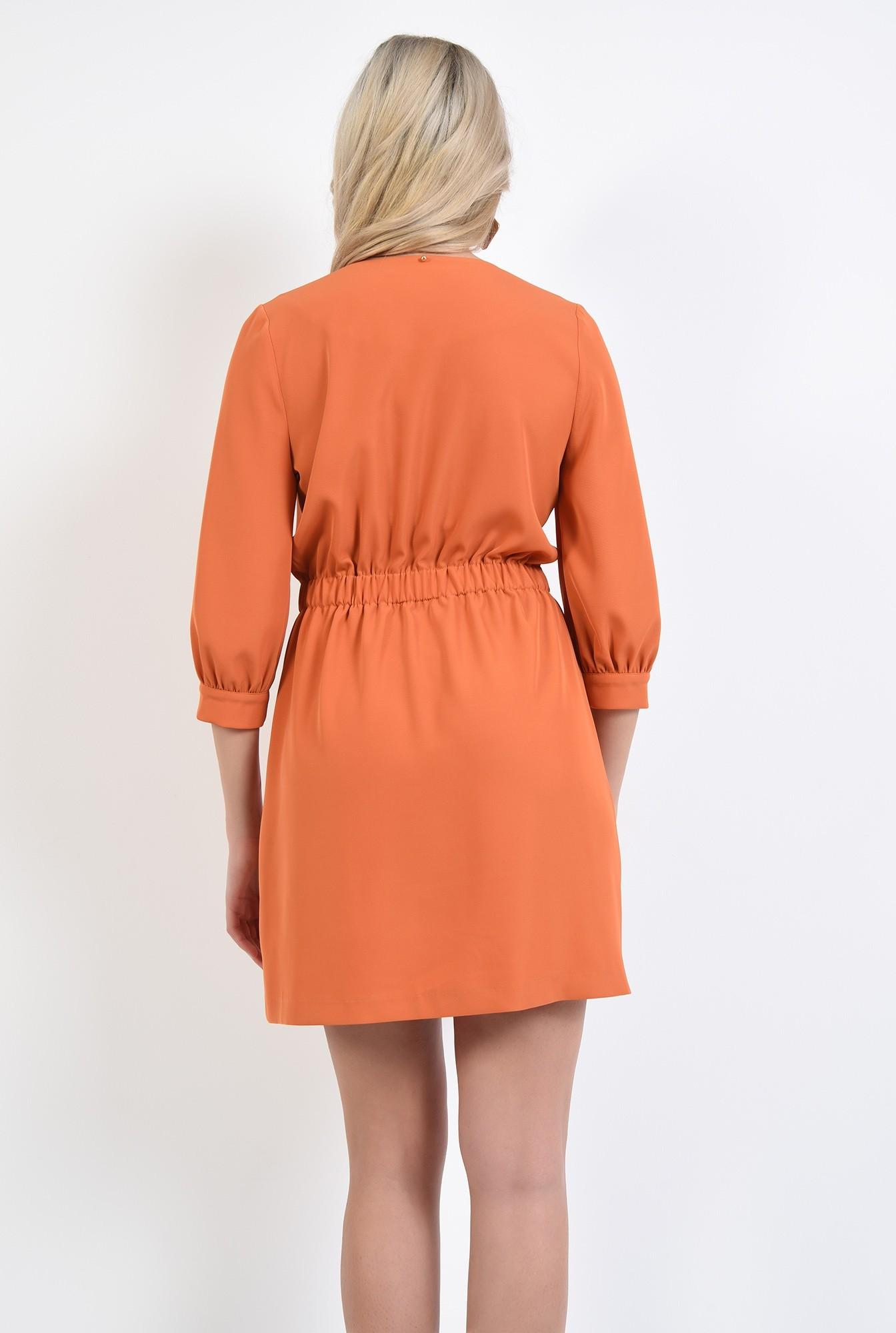 1 - rochie orange, mini, anchior petrecut, inchidere la doi nasturi