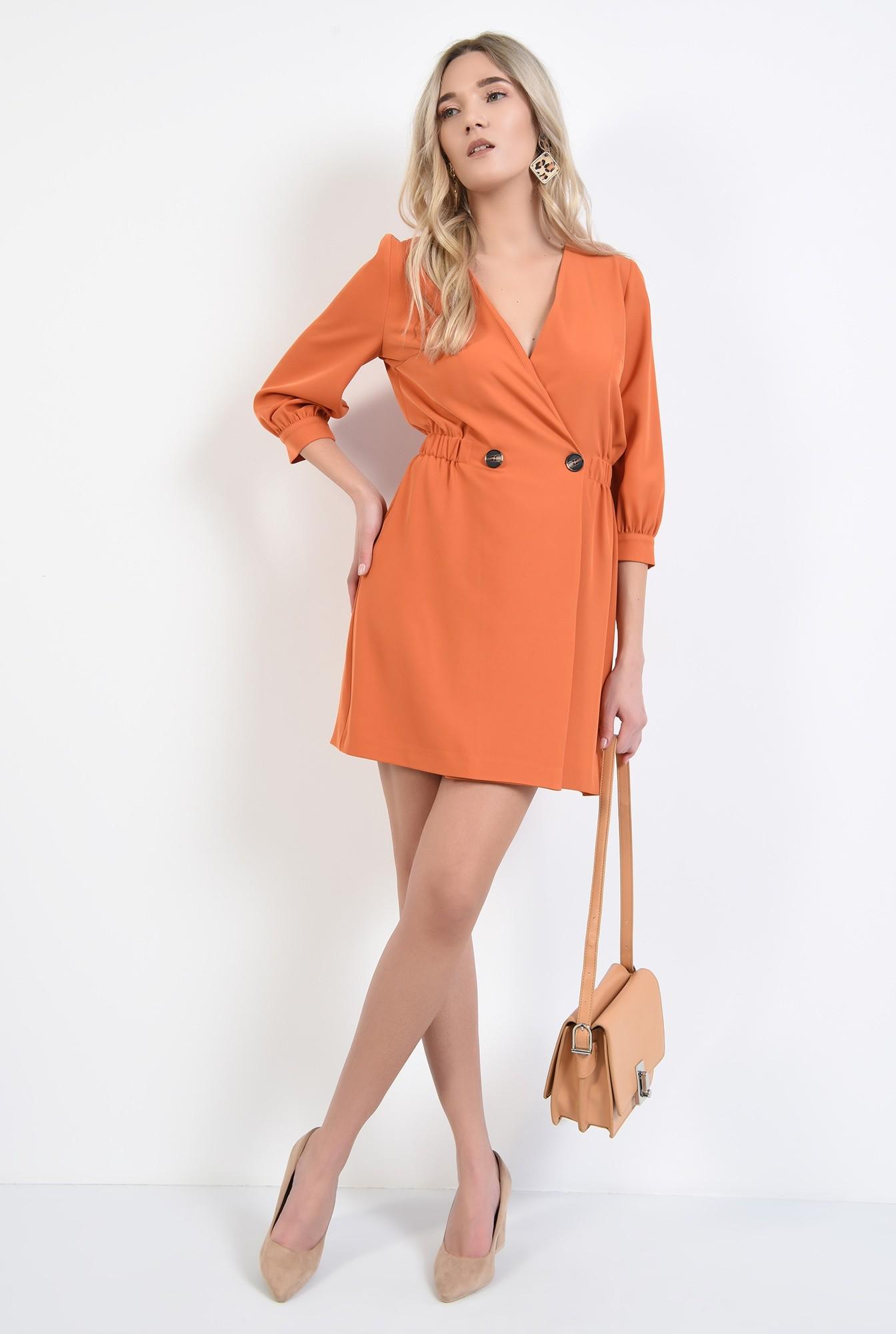 3 - rochie orange, mini, anchior petrecut, inchidere la doi nasturi