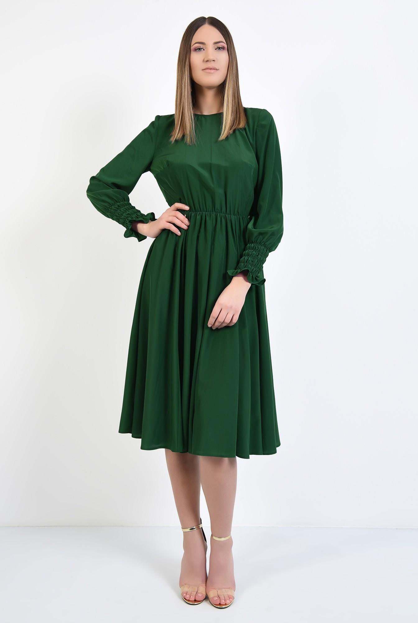 3 - rochie de zi, pe bie, maneci cu mansete late, elastic in talie