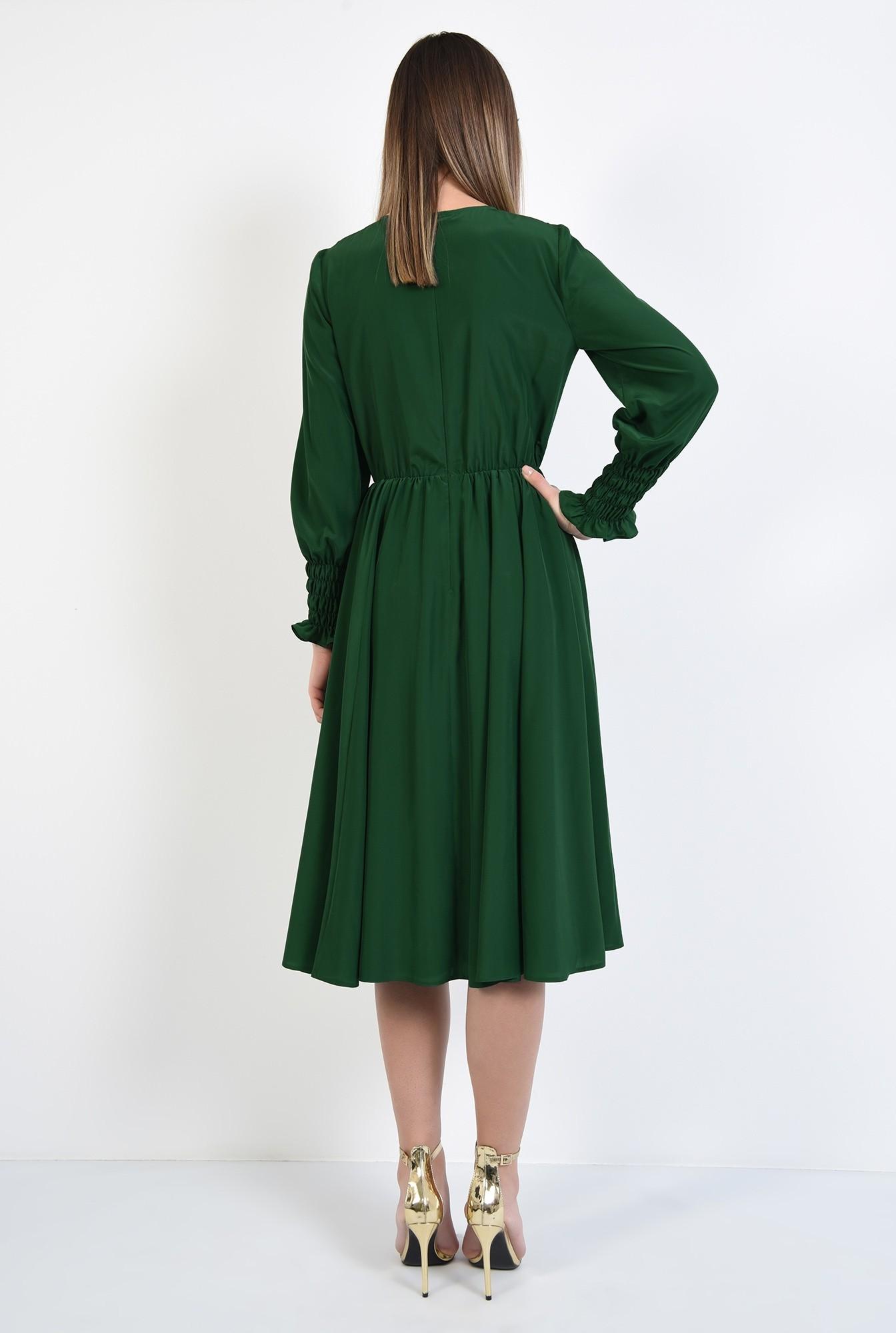 1 - rochie de zi, pe bie, maneci cu mansete late, elastic in talie