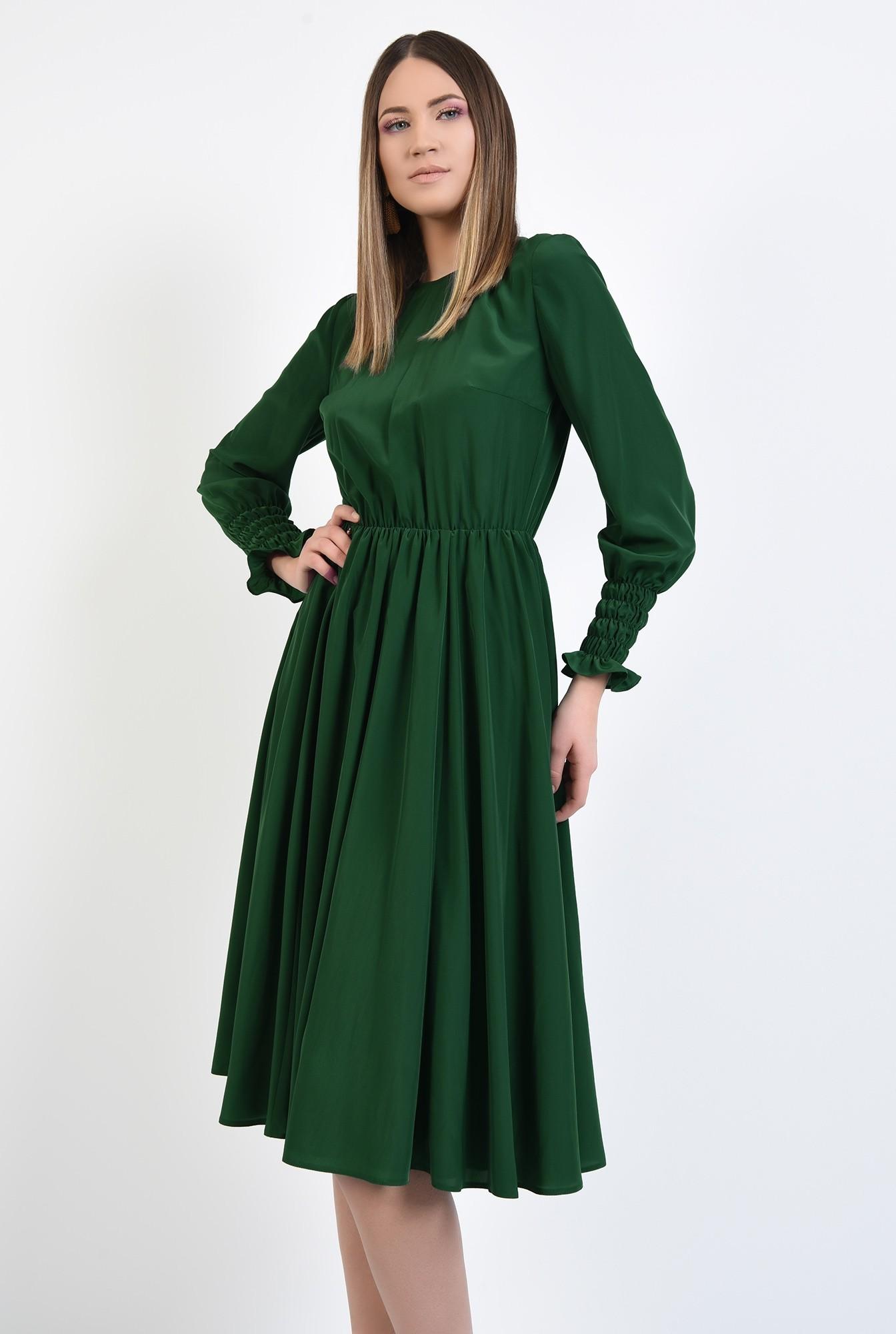 2 - rochie de zi, pe bie, maneci cu mansete late, elastic in talie