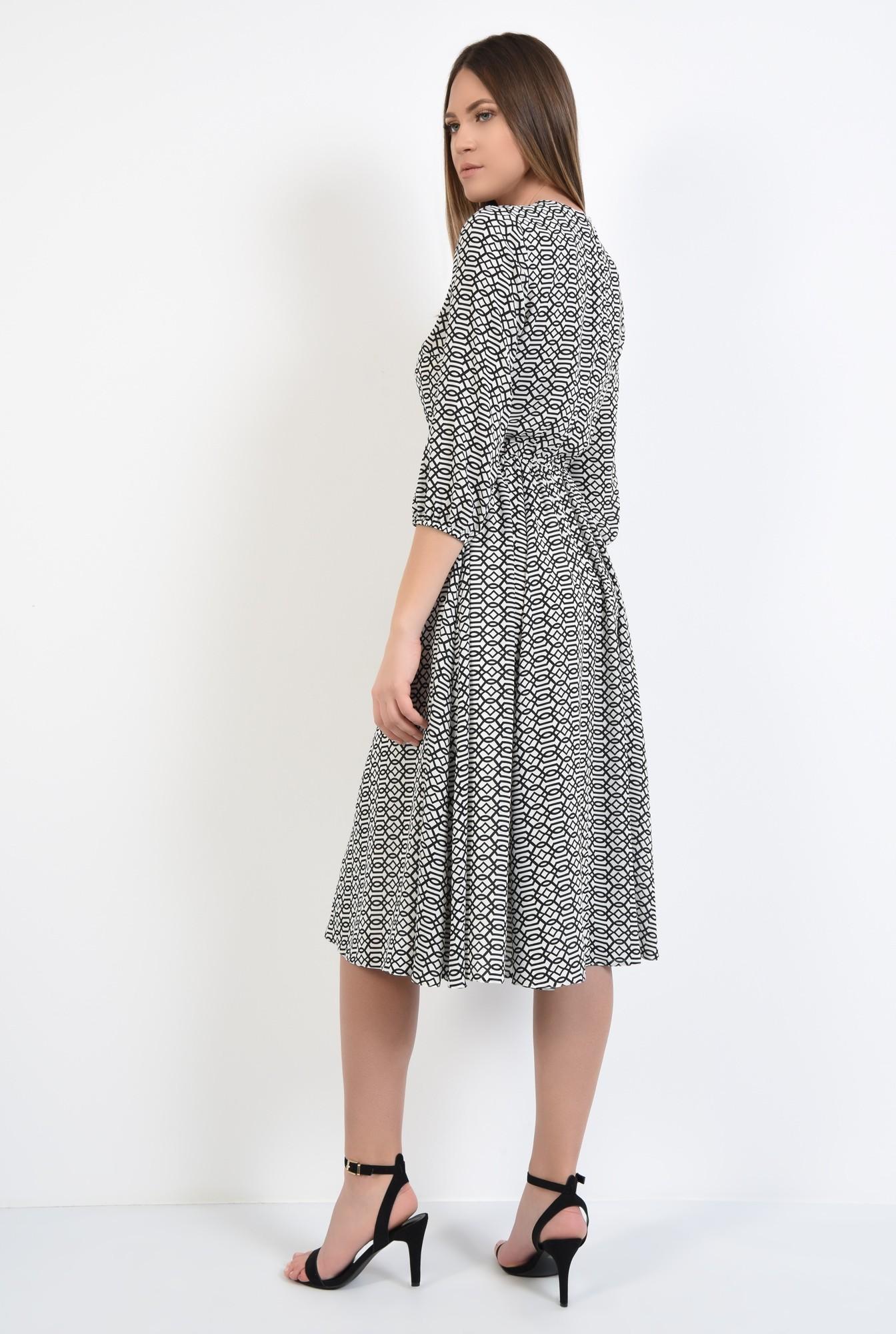 1 - 360 - rochie imprimata, anchior petrecut, maneci 3/4, elastic la talie