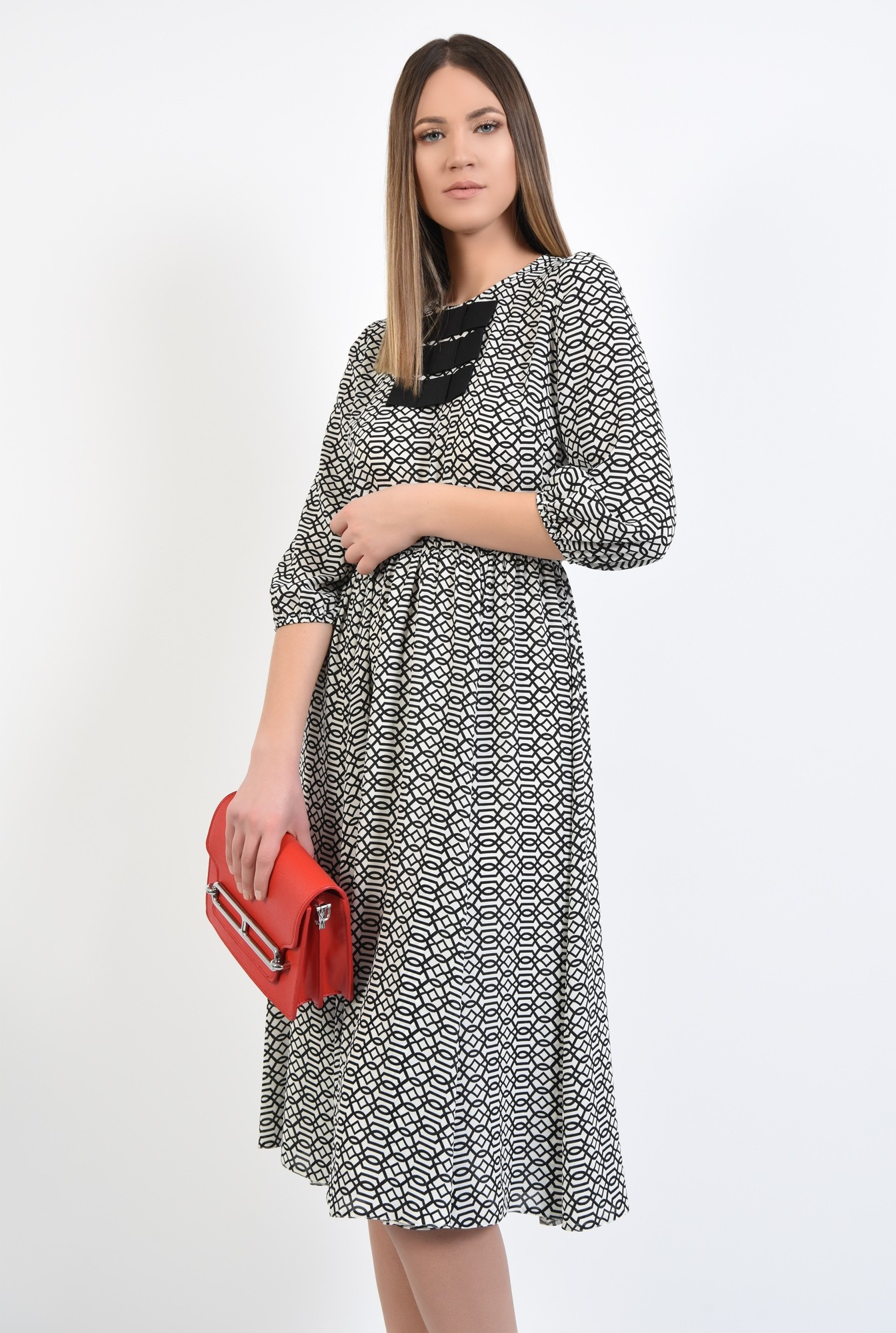 0 - 360 - rochie imprimata, anchior petrecut, maneci 3/4, elastic la talie