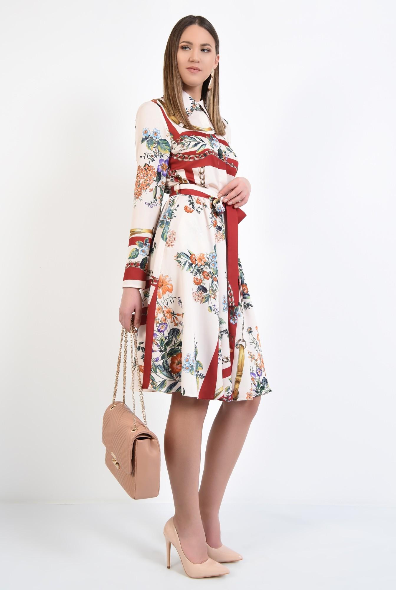 3 - rochie casual, evazata, cu imprimeu, cu cordon, nasturi