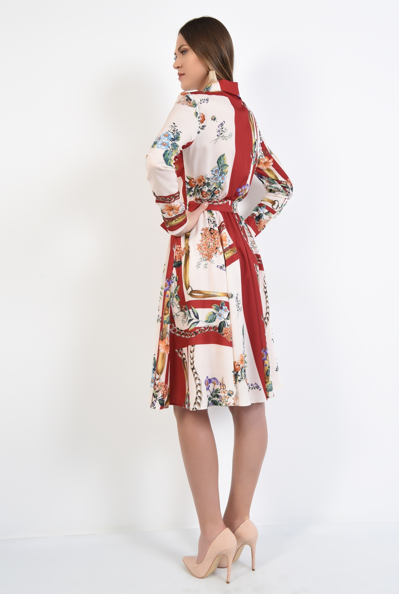 1 - rochie casual, evazata, cu imprimeu, cu cordon, nasturi