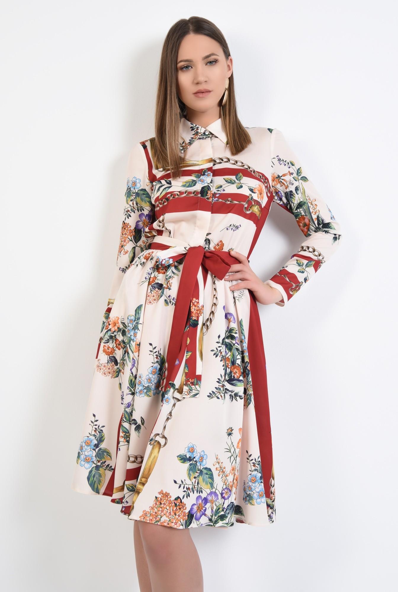 2 - rochie casual, evazata, cu imprimeu, cu cordon, nasturi