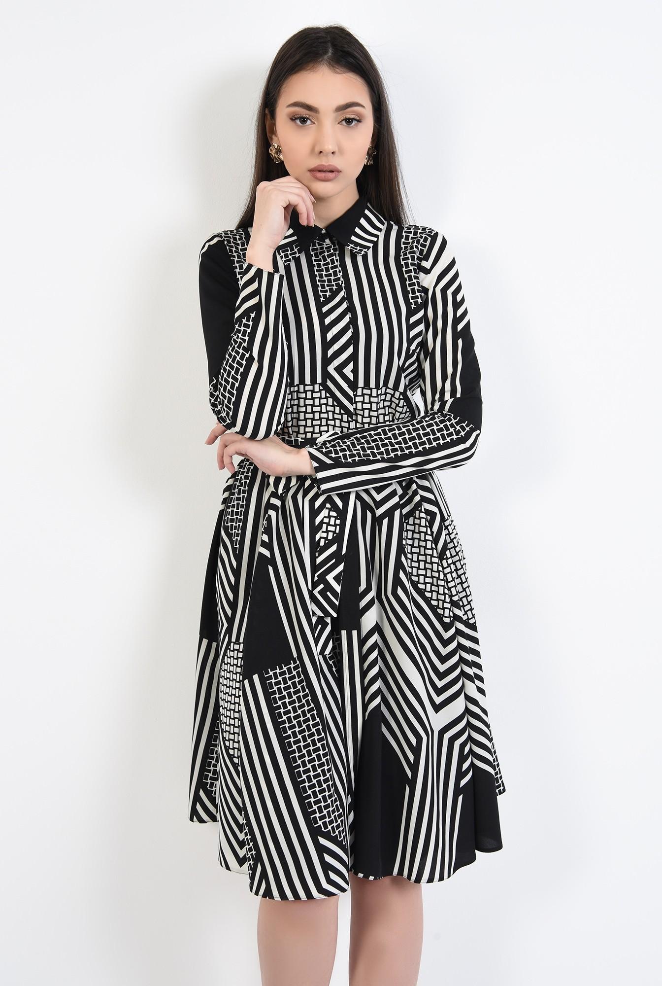2 - rochie clos, cu imprimeu, cu cordon, maneci lungi