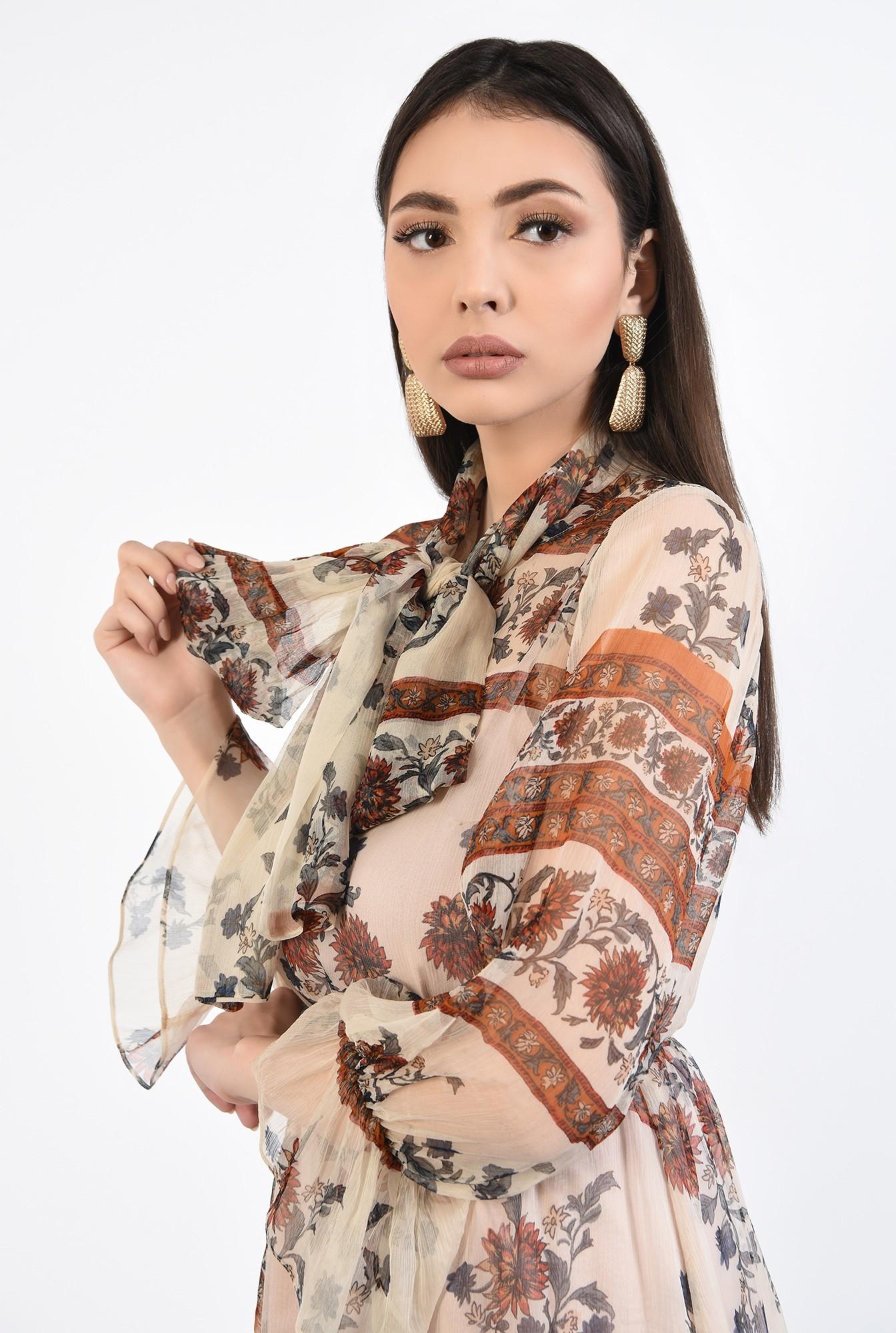 2 - rochie din matase, imprimata, cu funda, maneci cu volan
