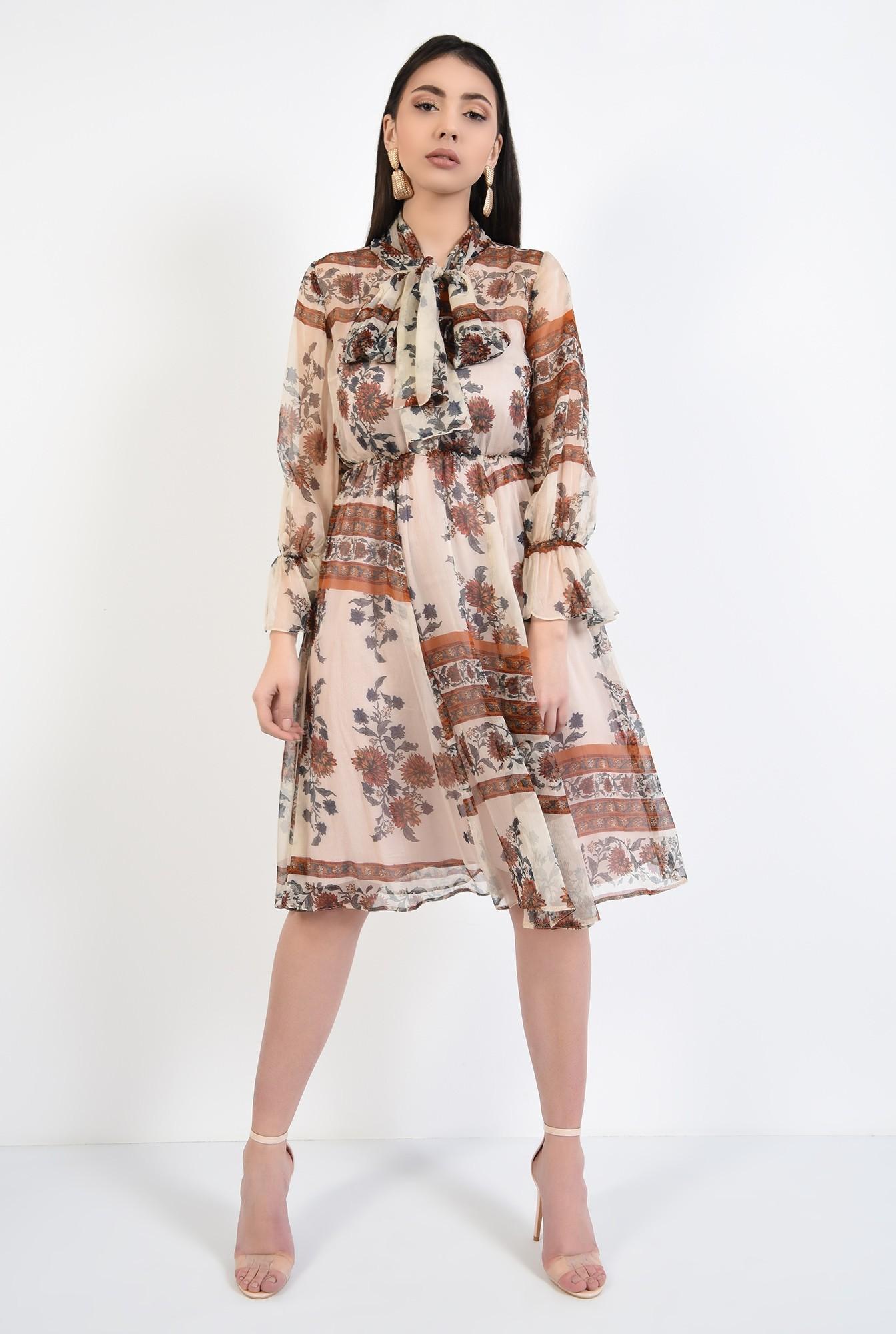 3 - rochie din matase, imprimata, cu funda, maneci cu volan