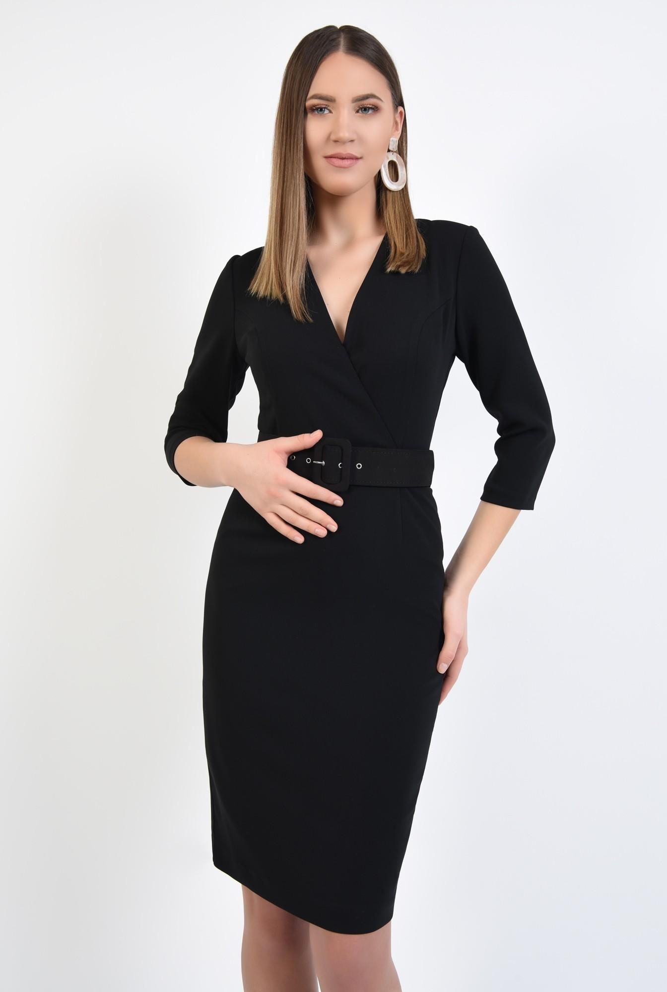 2 - rochie neagra, office, conica, cu centura