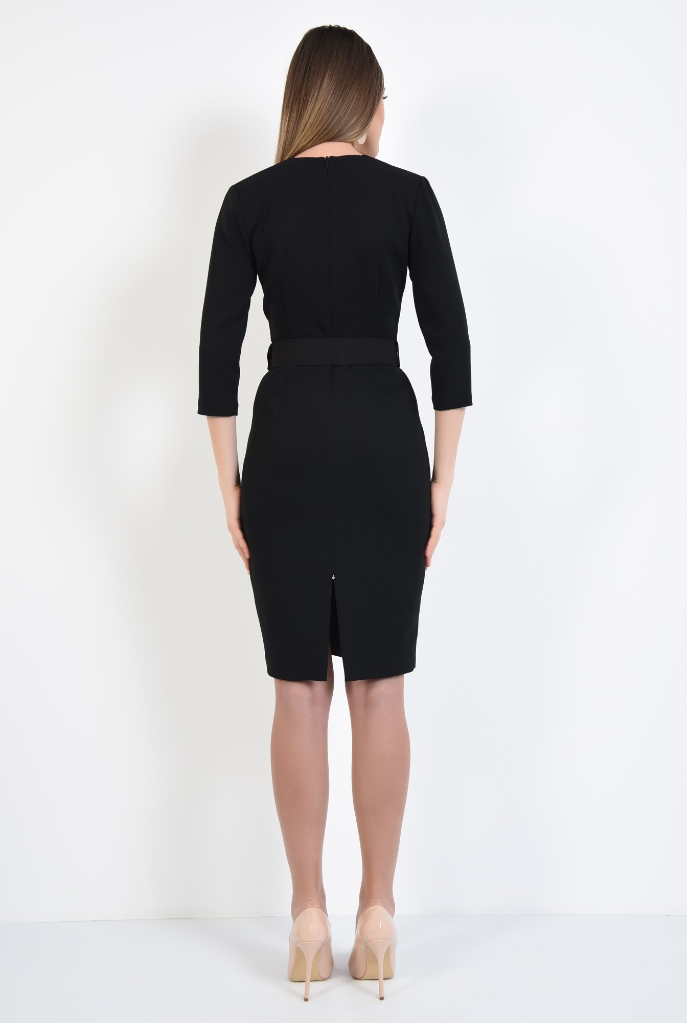 1 - rochie neagra, office, conica, cu centura