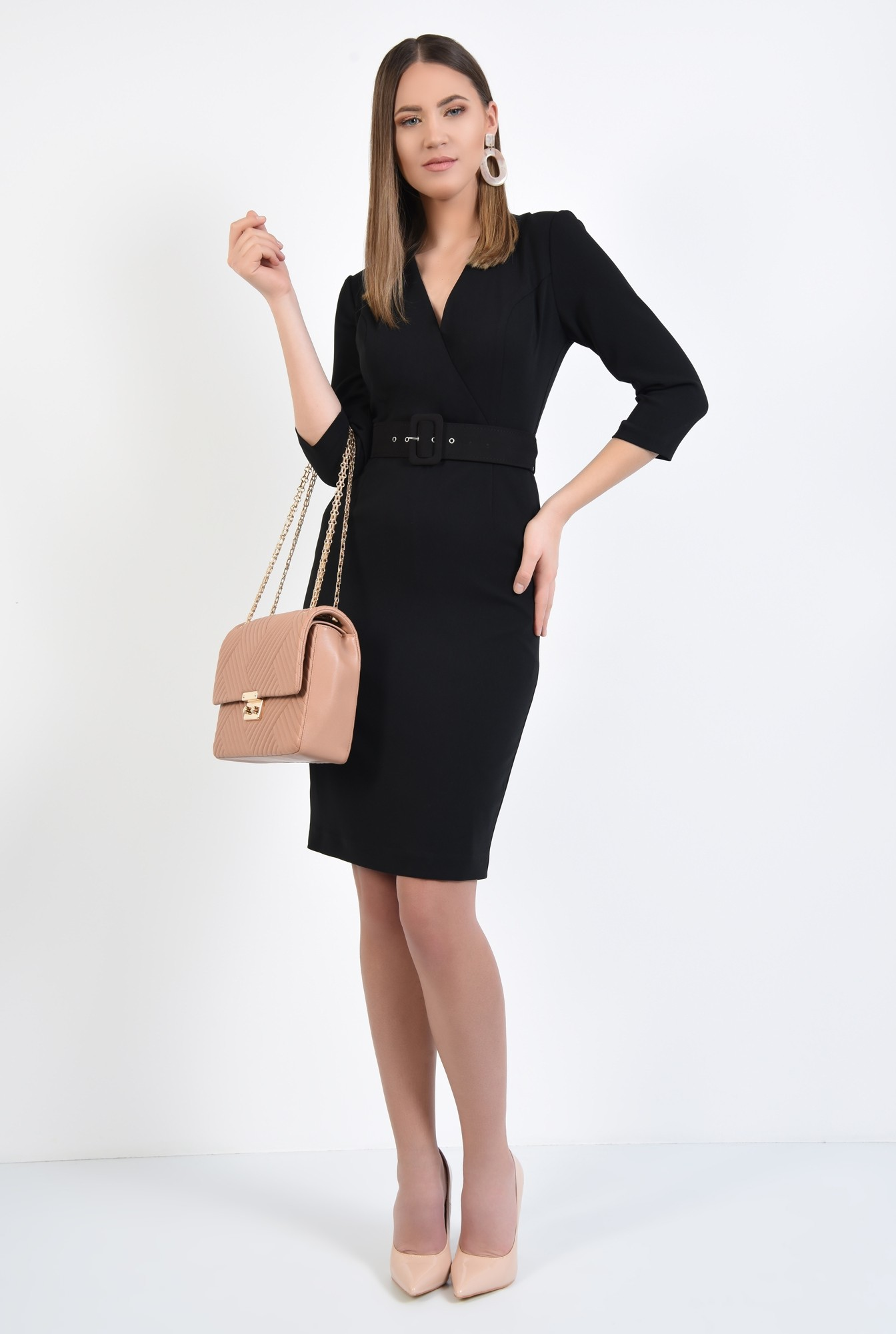 3 - rochie neagra, office, conica, cu centura