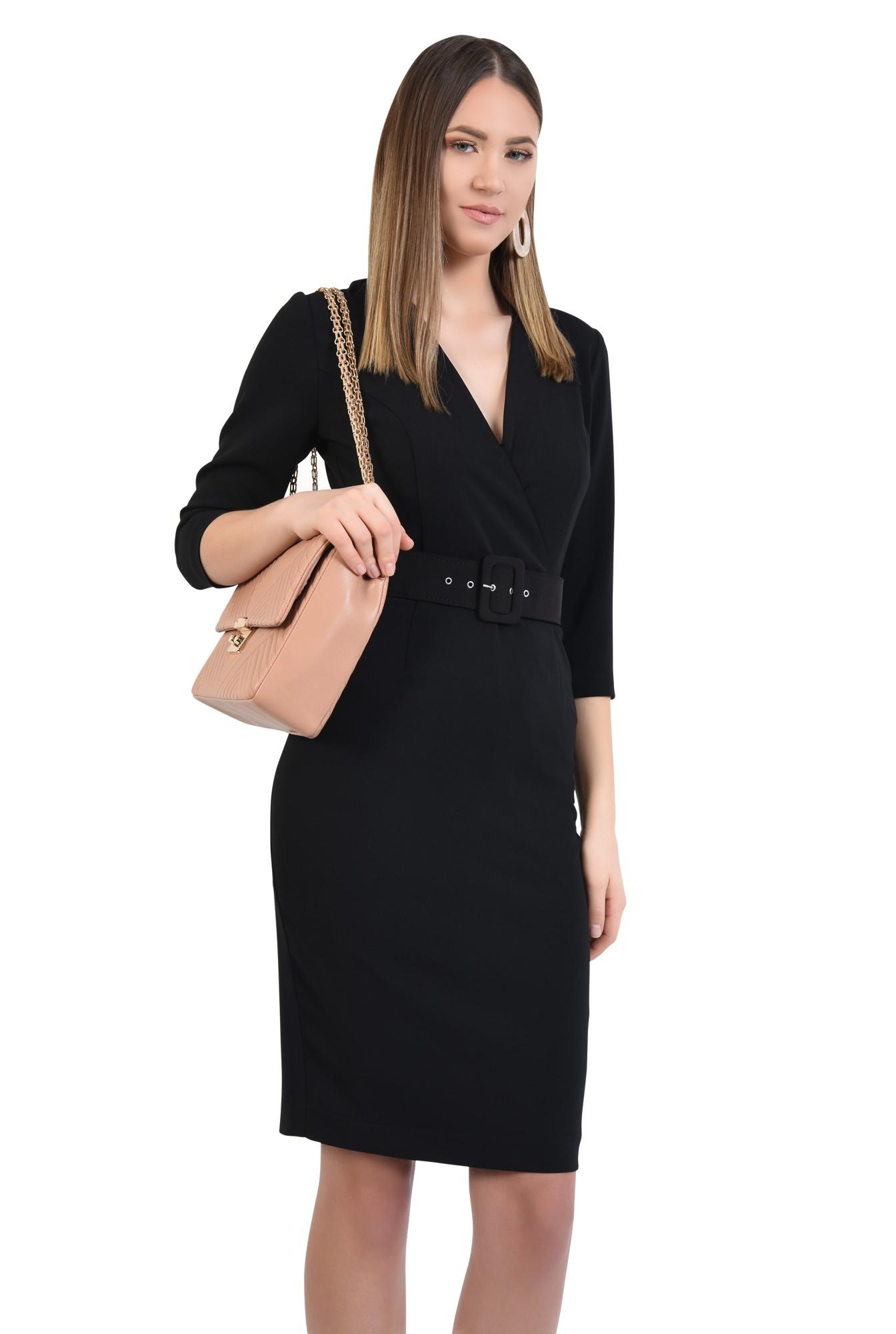 0 - rochie neagra, office, conica, cu centura