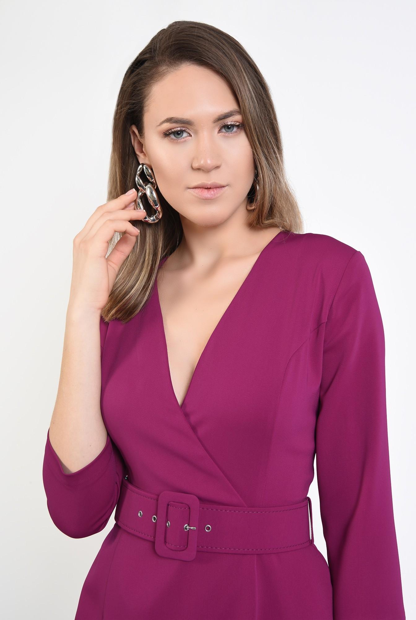 2 - 360 - rochie magenta, office, conica, cu centura
