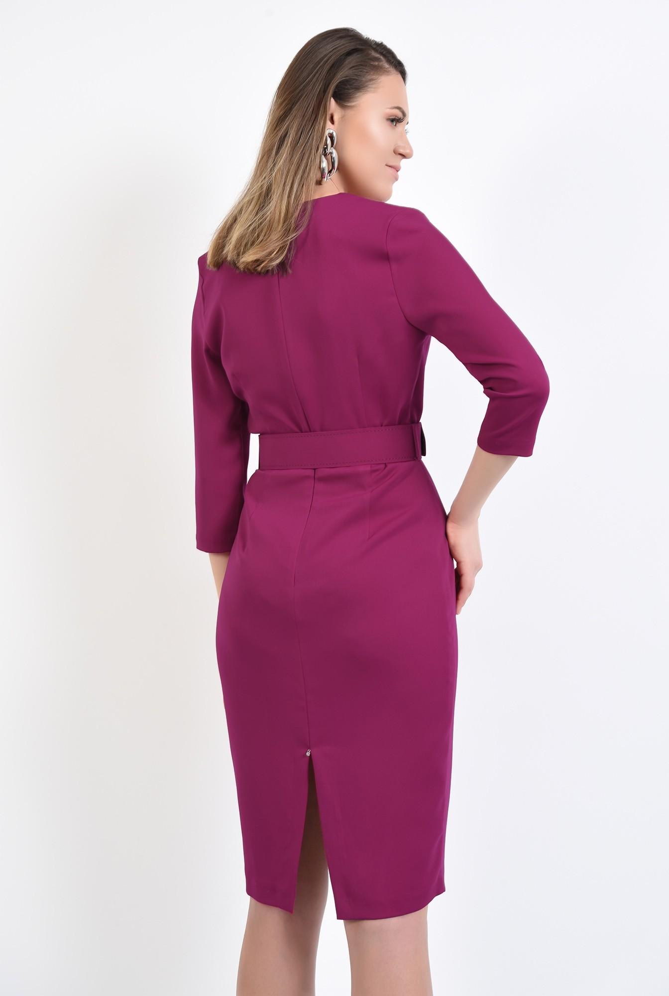 1 - 360 - rochie magenta, office, conica, cu centura