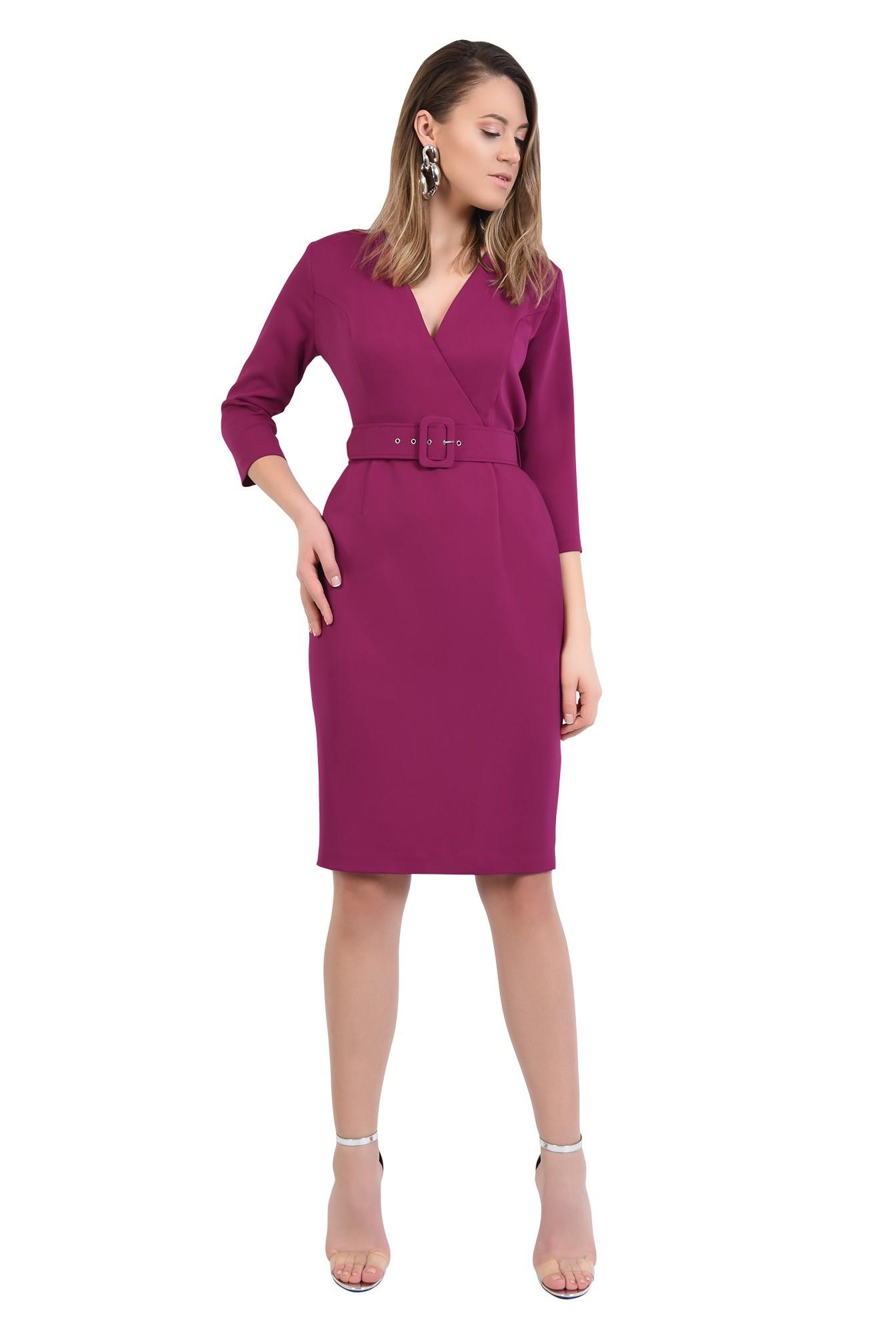 3 - 360 - rochie magenta, office, conica, cu centura