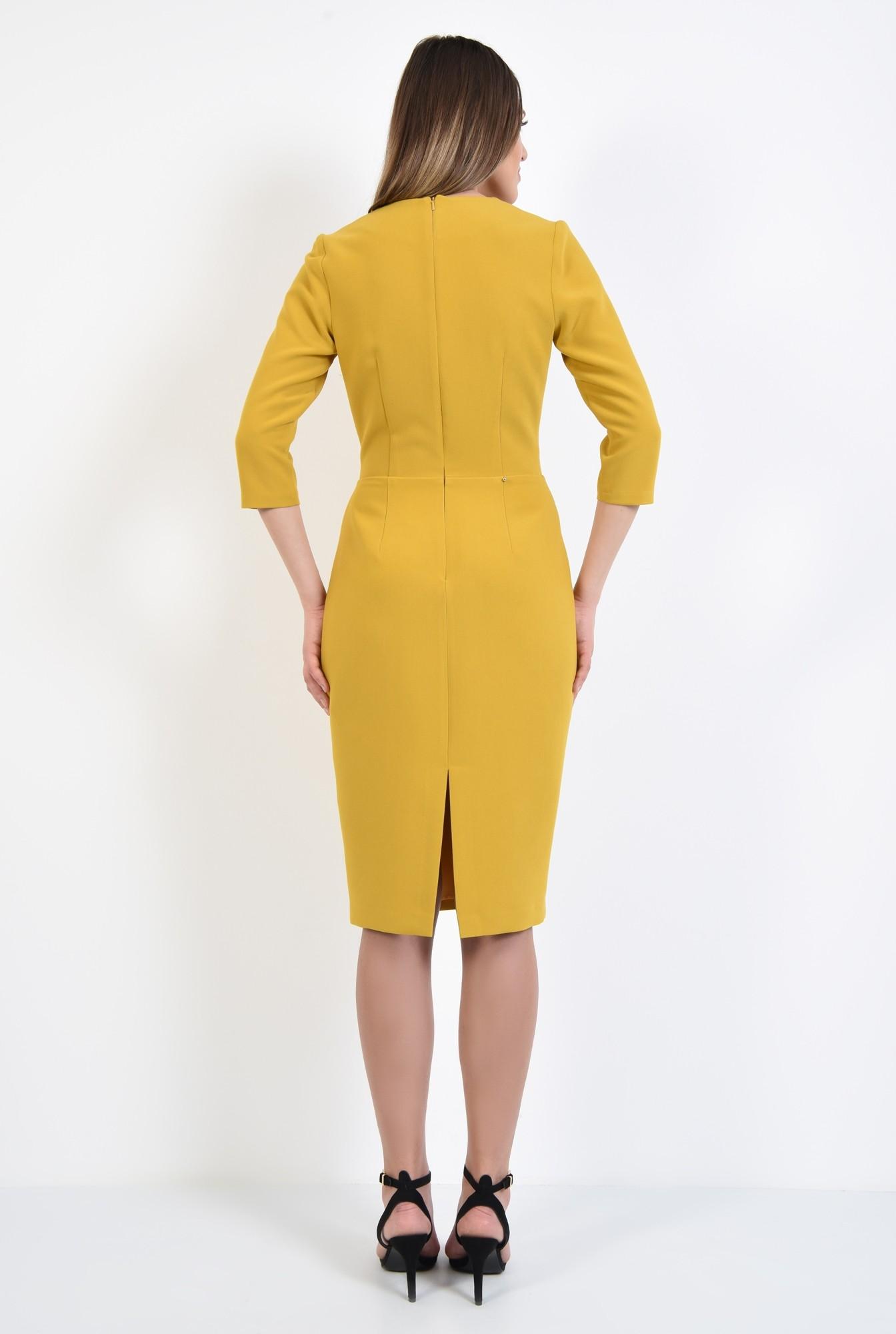 1 - 360 - rochie casual, bodycon, mustar, betelie, nasturi