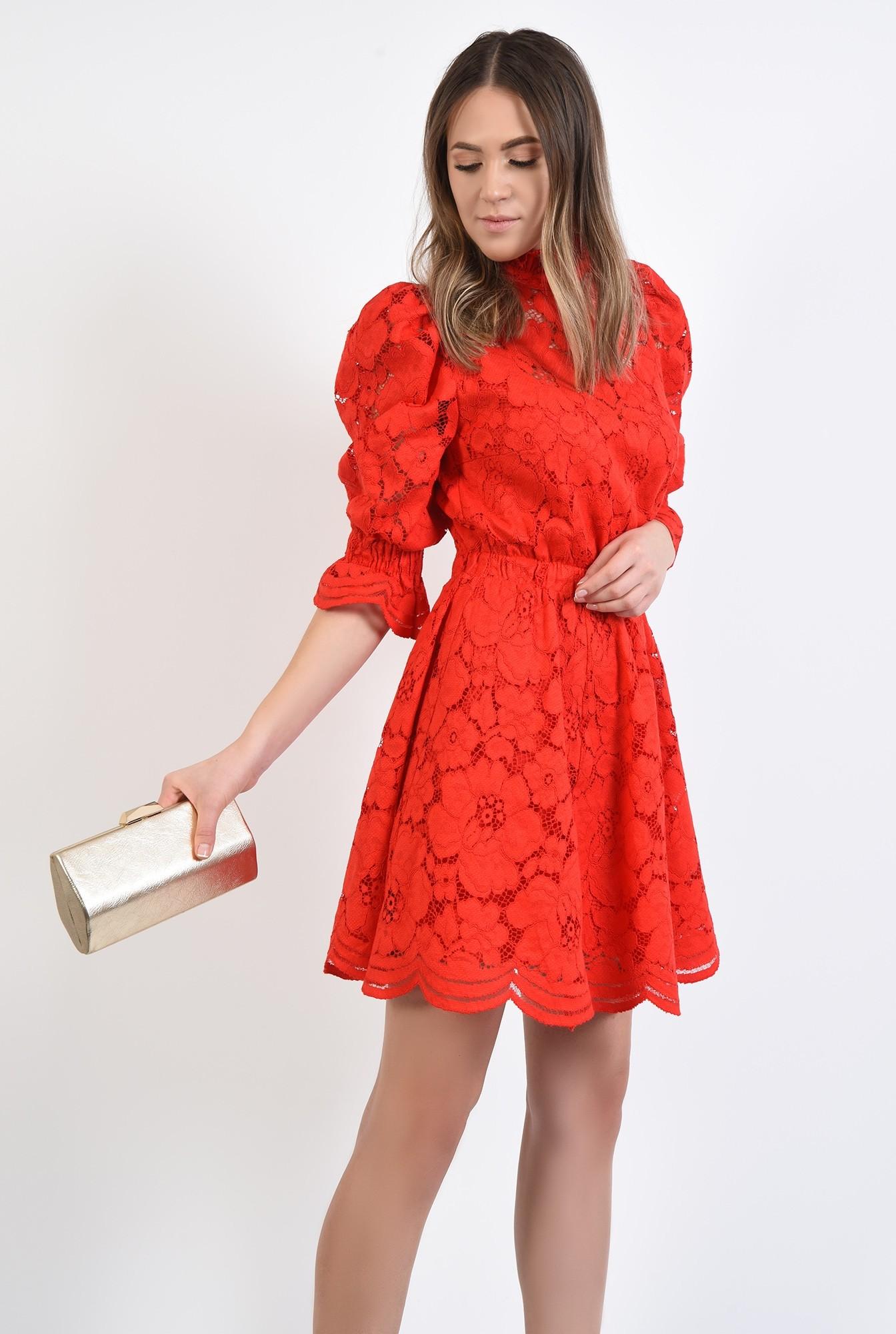 2 - 360 - rochie de ocazie, din dantela, rosie, clos, scurta