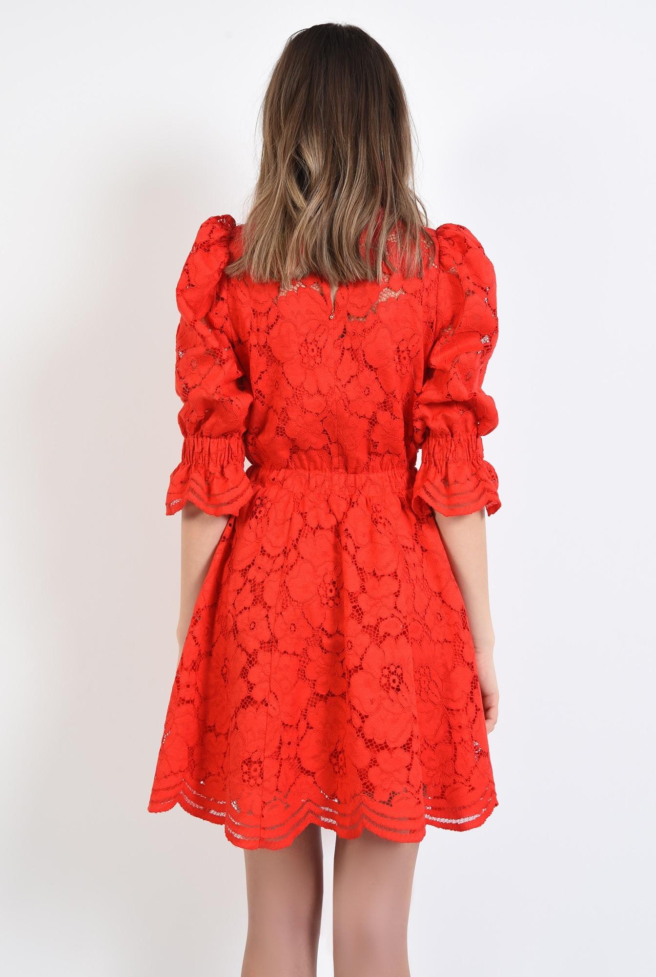 1 - 360 - rochie de ocazie, din dantela, rosie, clos, scurta