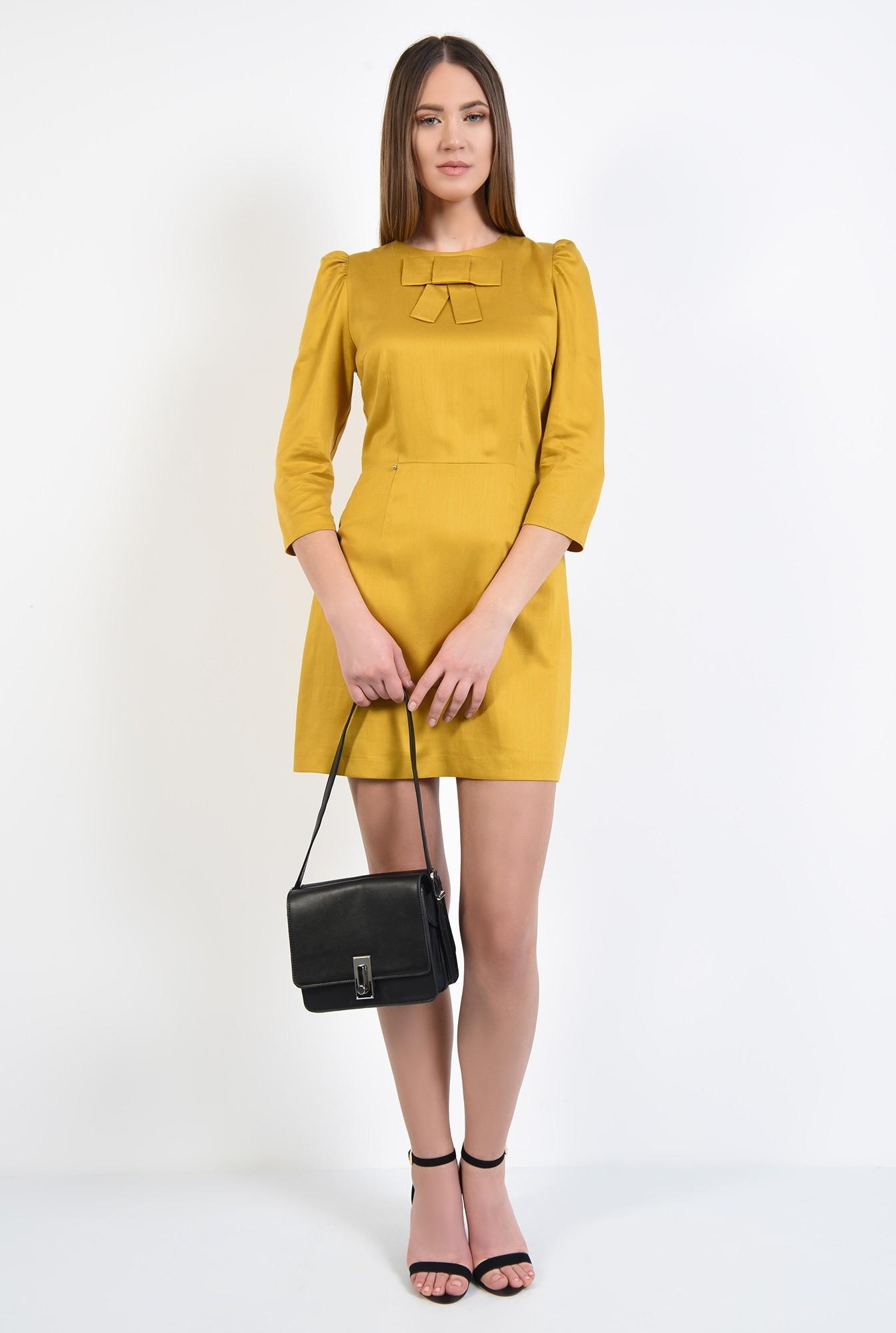 3 - rochie casual, mustar, cu funda, maneci 3/4, rochie din in