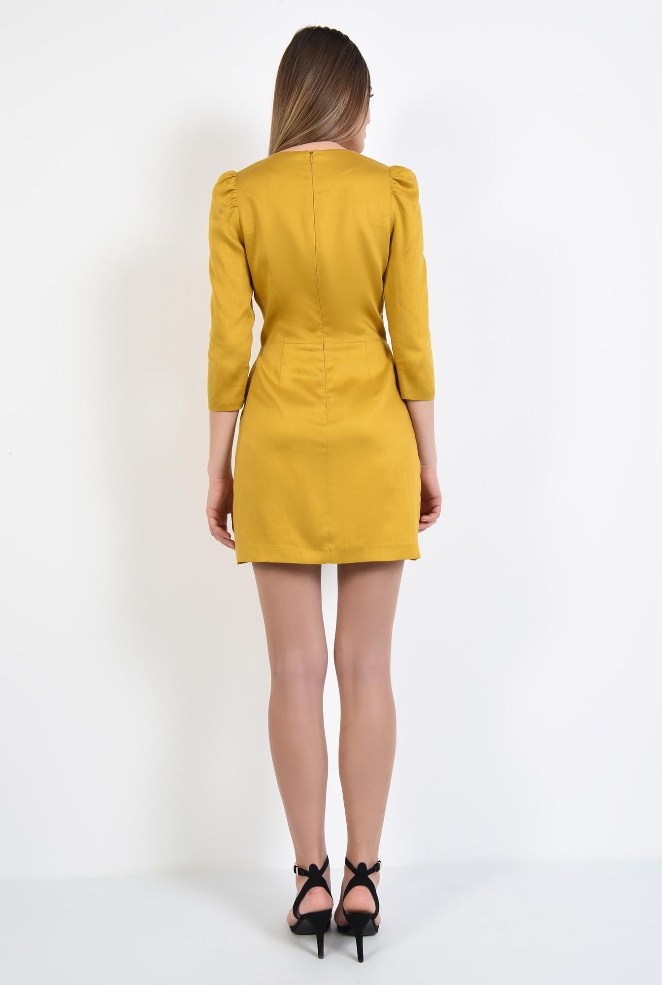 1 - rochie casual, mustar, cu funda, maneci 3/4, rochie din in