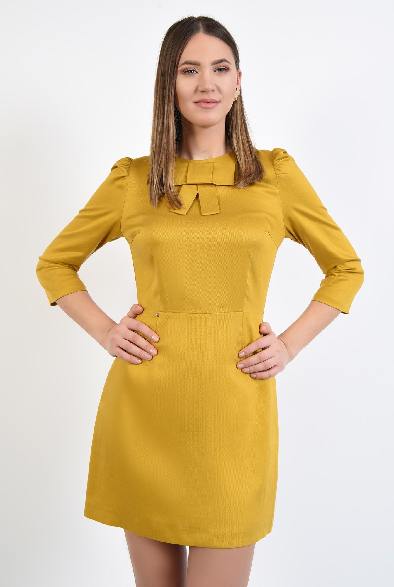 2 - rochie casual, mustar, cu funda, maneci 3/4, rochie din in