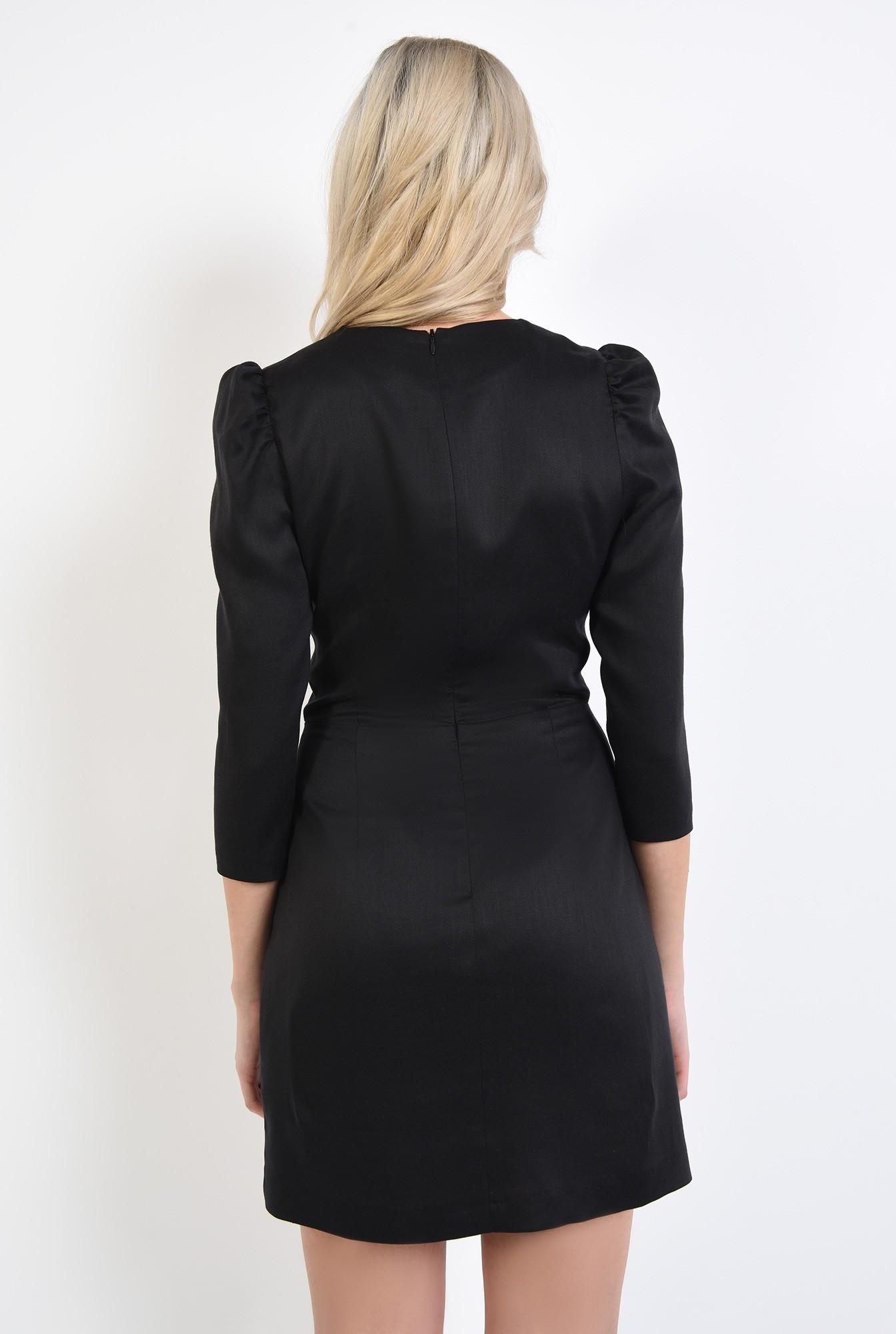 1 - 360 - rochie de zi, casual, neagra, cu funda, maneci cu cret la umar