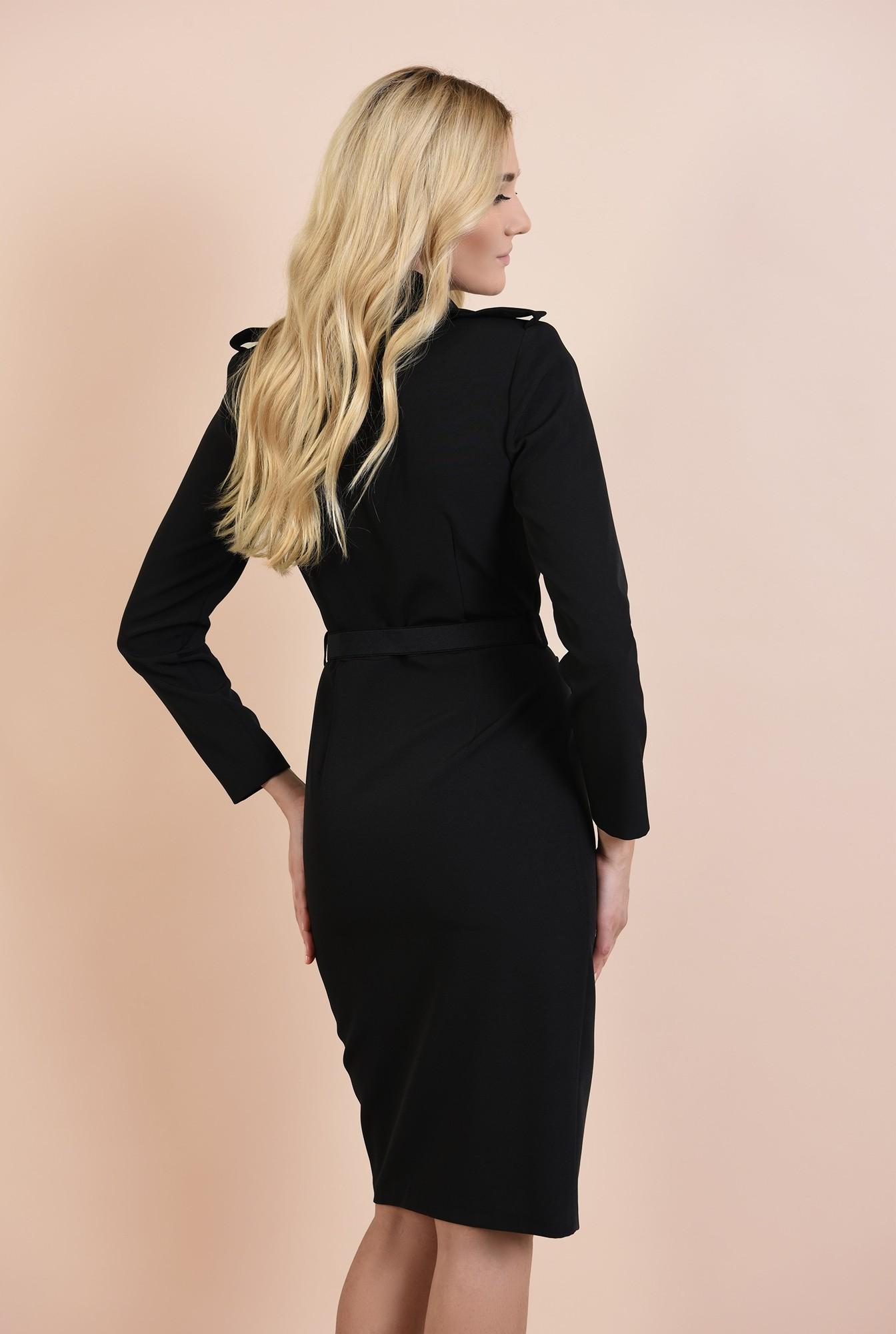 1 - rochie neagra, casual, nasturi aurii, epoleti, curea fronsata