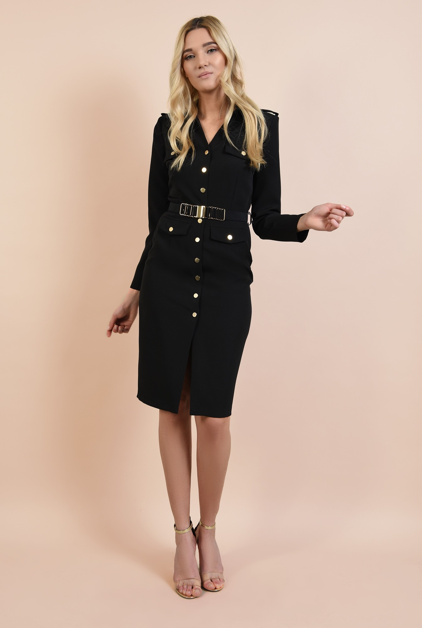 3 - rochie neagra, casual, nasturi aurii, epoleti, curea fronsata