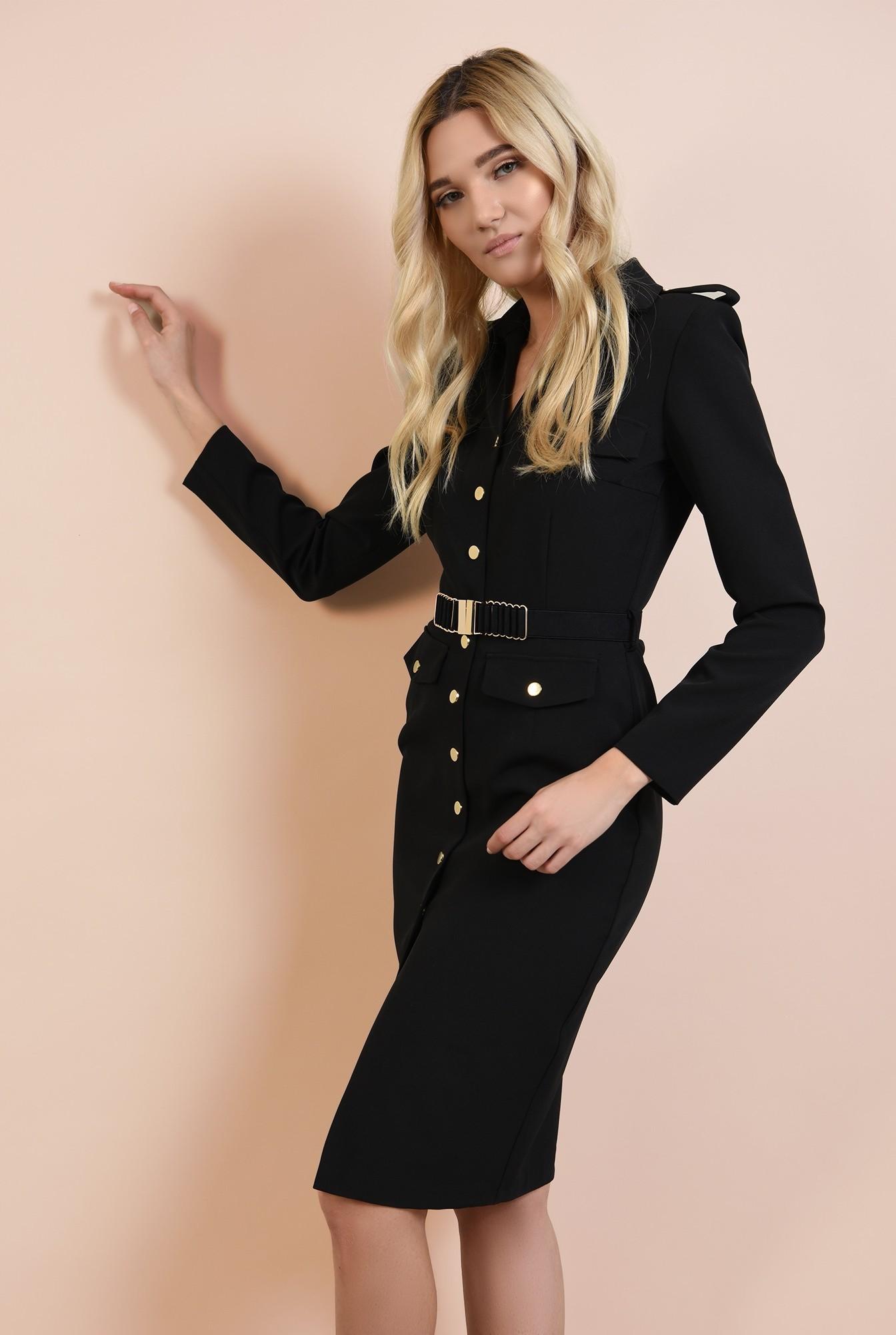 0 - rochie neagra, casual, nasturi aurii, epoleti, curea fronsata